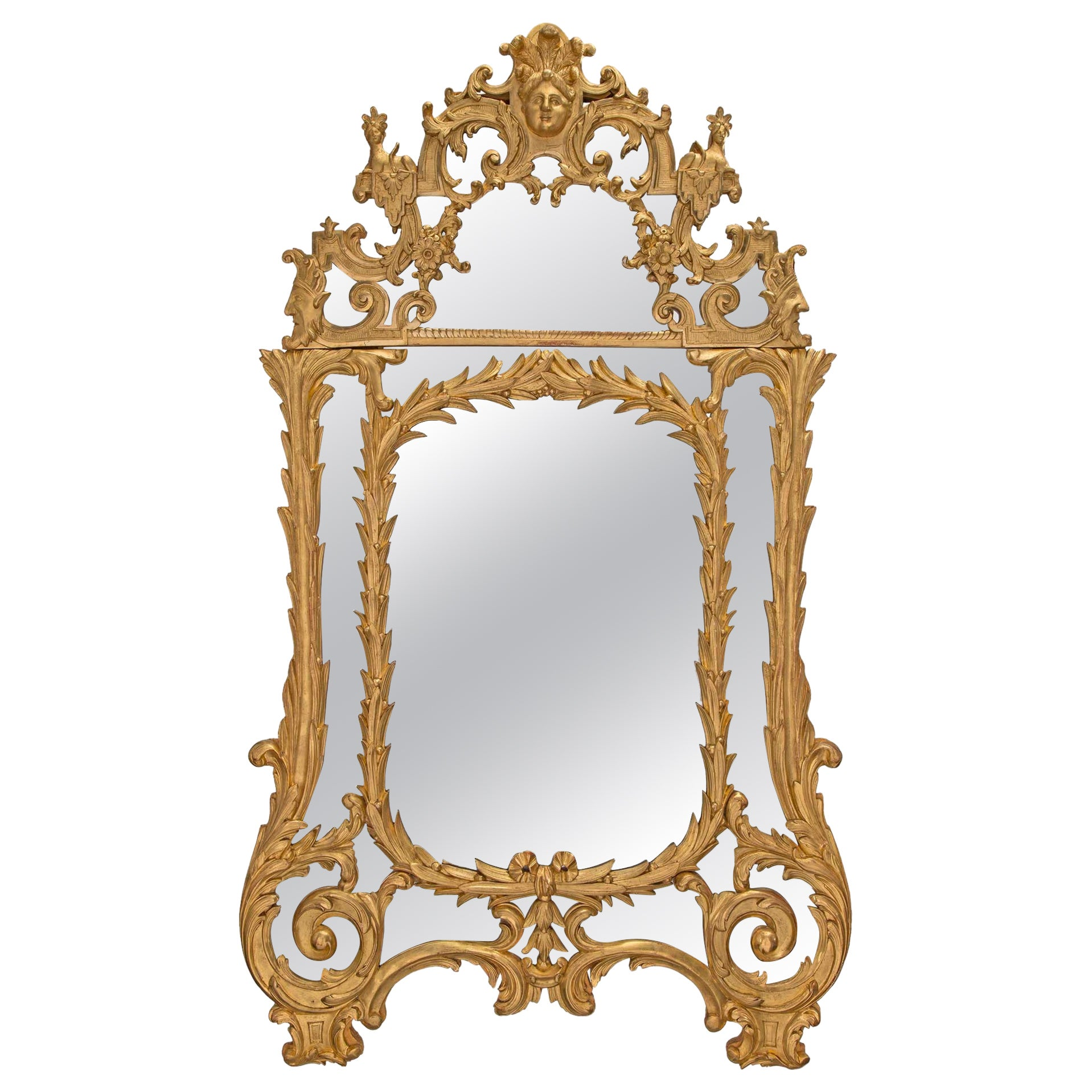 French Early 18th Century Regence Period Giltwood Mirror