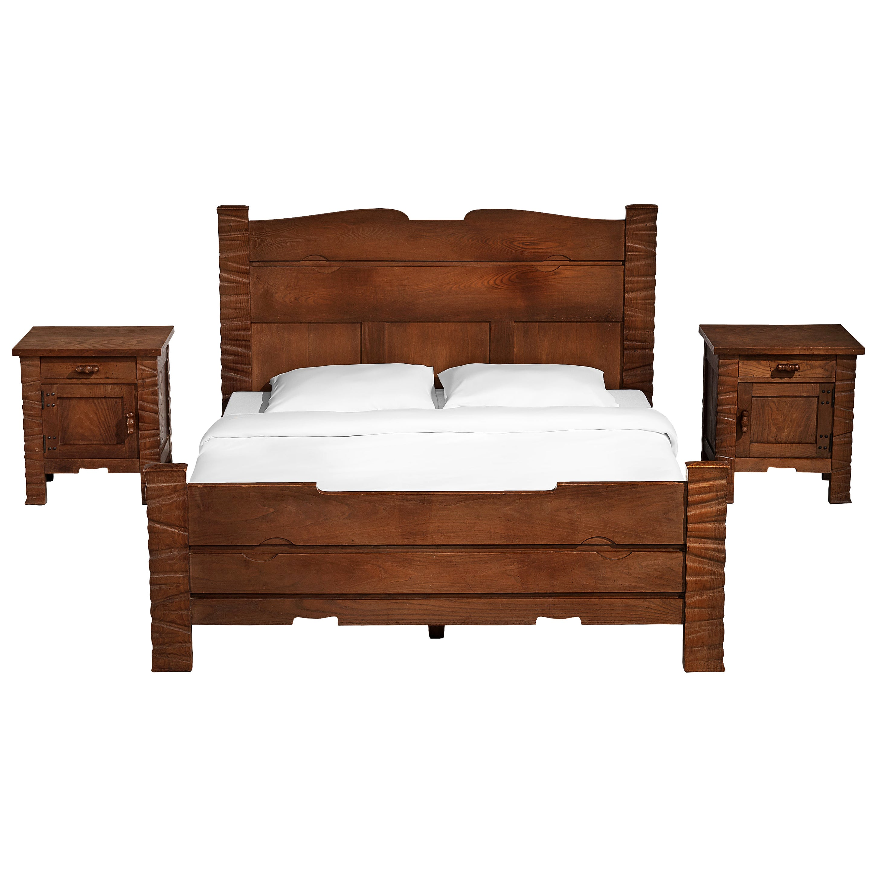 Sculptural Ernesto Valabrega Kingsize Bed in Oak with Nightstands