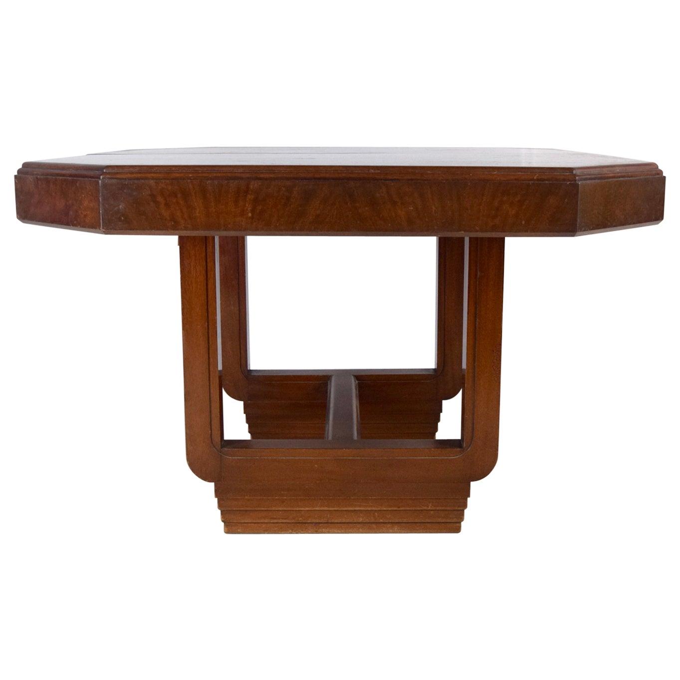 Art Deco Mahogany Extendable Dining Table
