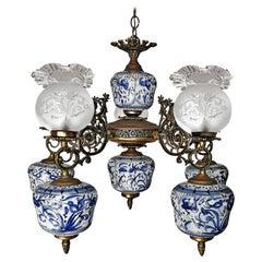 Art Deco Delft Blue Porcelain, Gilt Bronze and Etched Glass Oil Lamp Chandelier