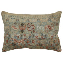 Brown Terracotta Lumbar Antique Persian Rug Pillow
