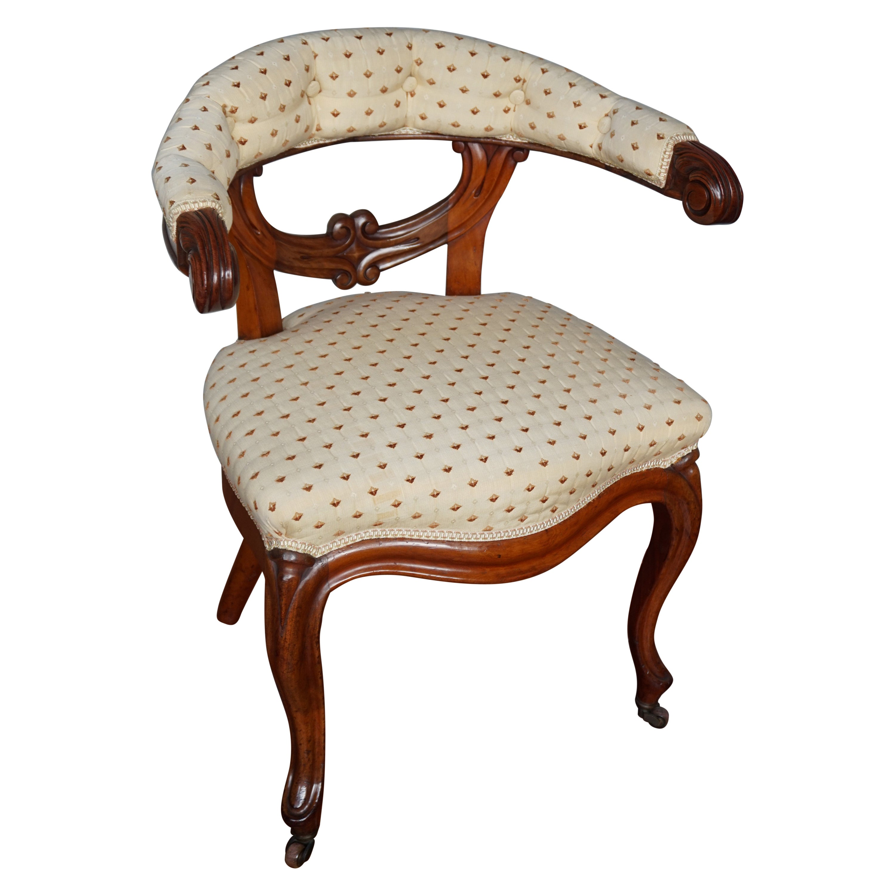 Late 1800s Hand Crafted & Carved Mahogany Ladies Desk Chair & Perfect Upholstery