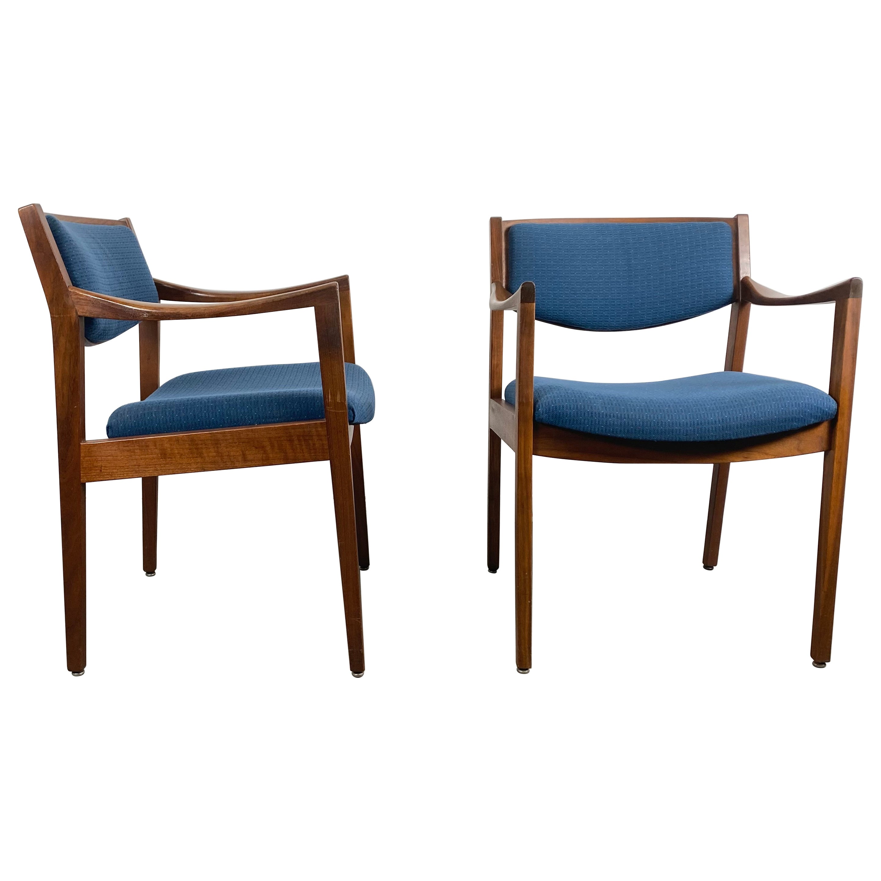 Gunlocke Modernist Walnut and Fabric Occasional Armchairs After Jens Risom, Pair
