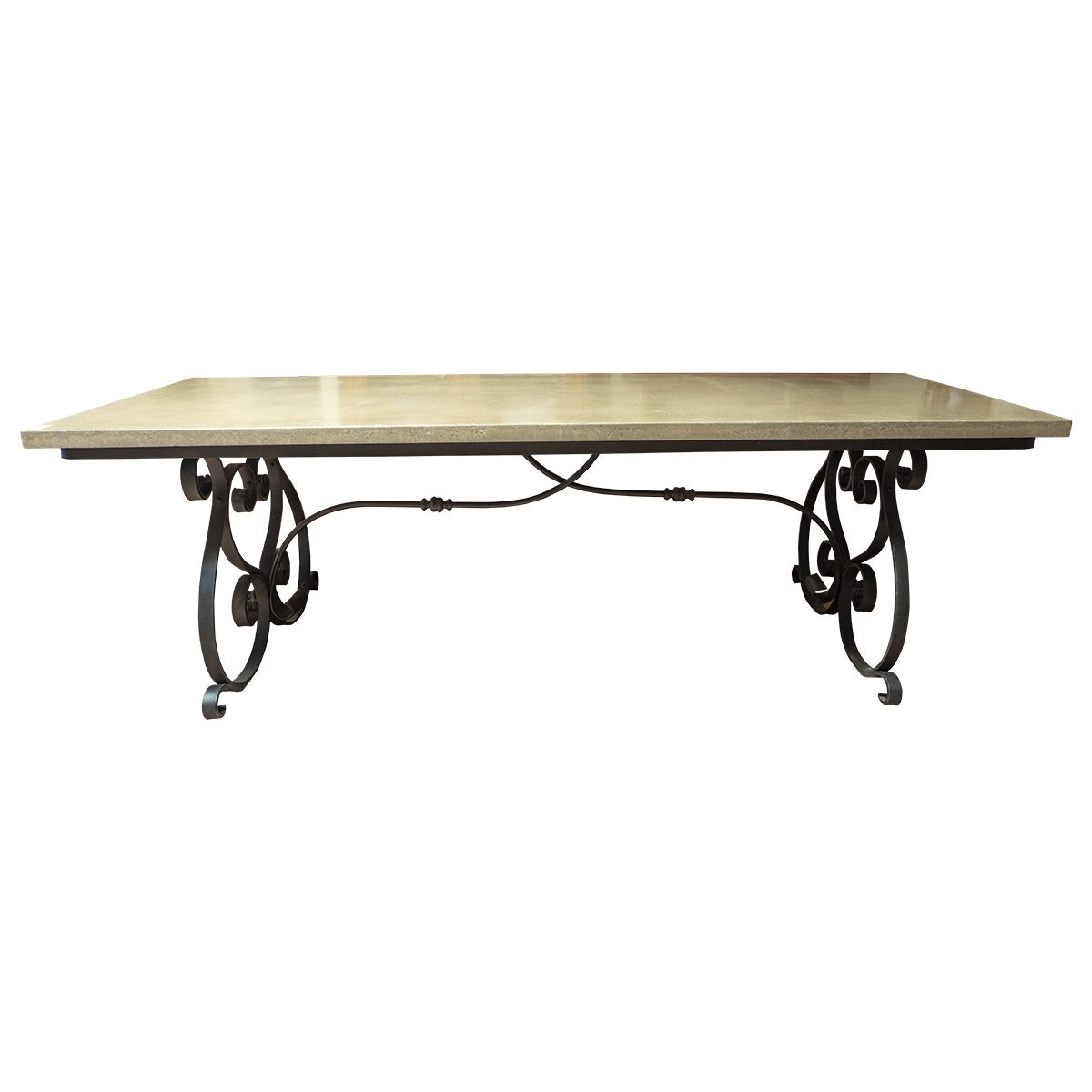 French 19th Century Iron Table Base with Concrete Top
