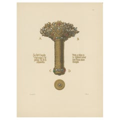 Antique Print of a Gold Bouquet Holder by Hefner-Alteneck, '1890'
