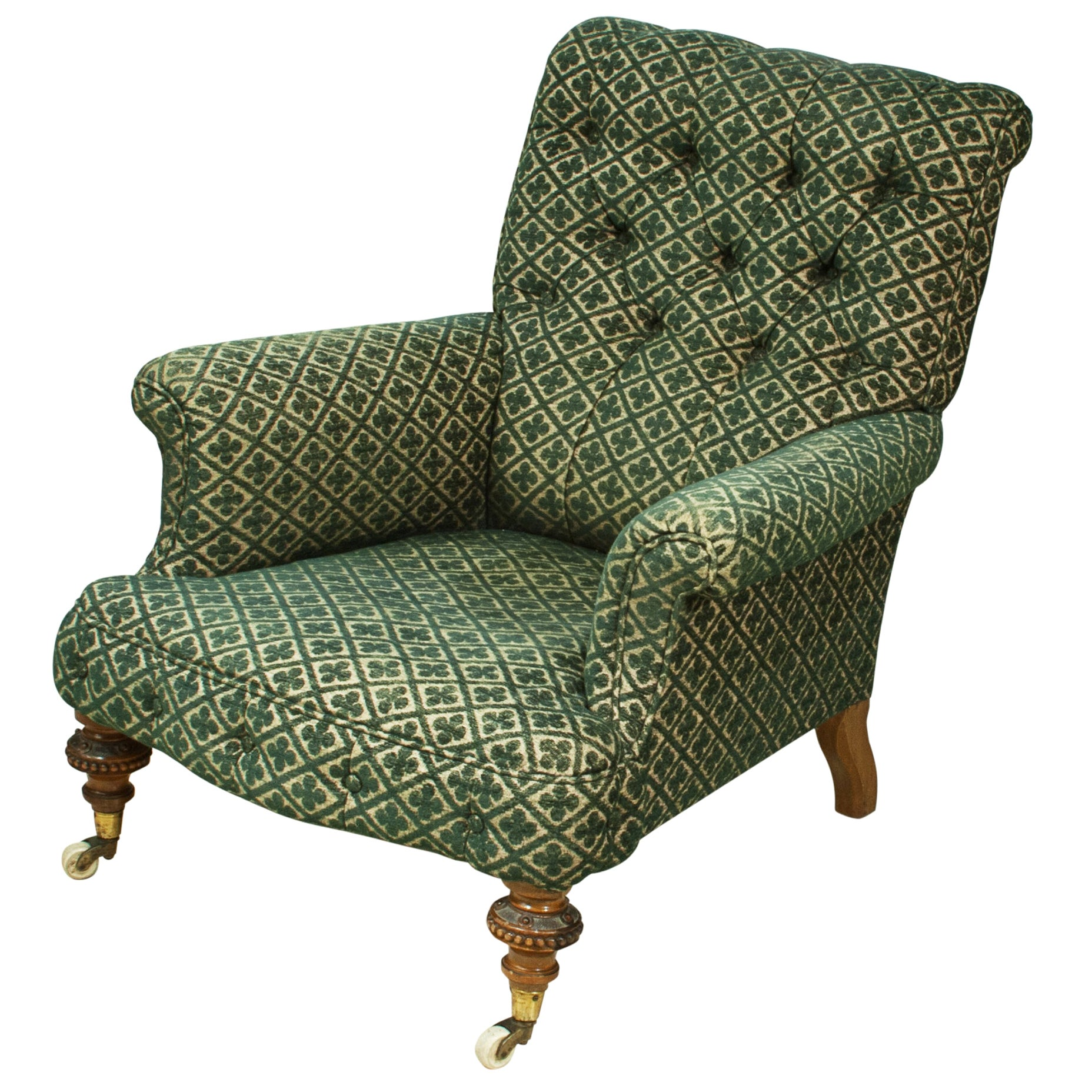 Antique Upholstered Howard Style Button Armchair