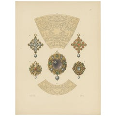 Antique Print of Jewelry Designs and Gold Pendants by Hefner-Alteneck, 1890