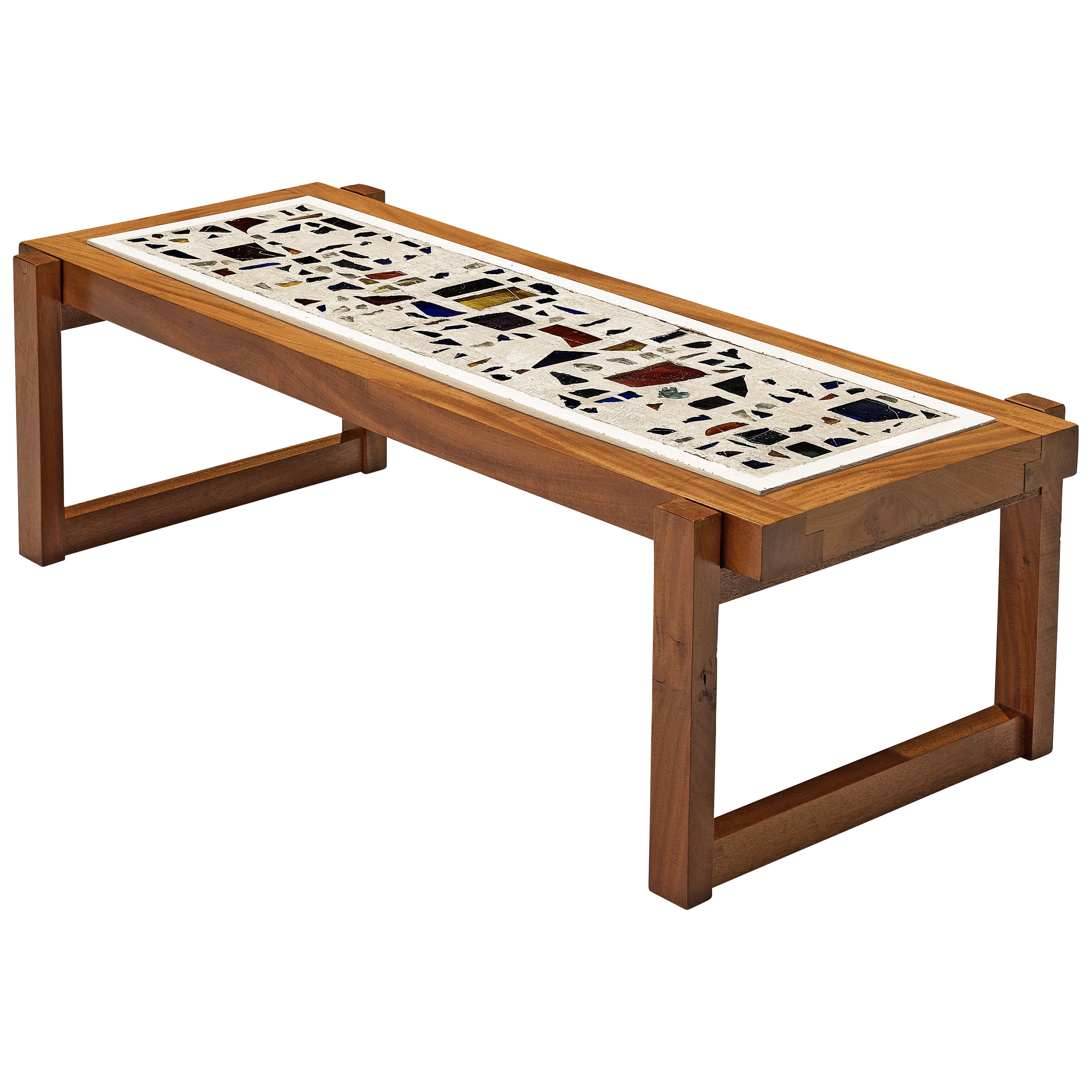 Handcrafted Coffee Table in Teak with Glass Fragments