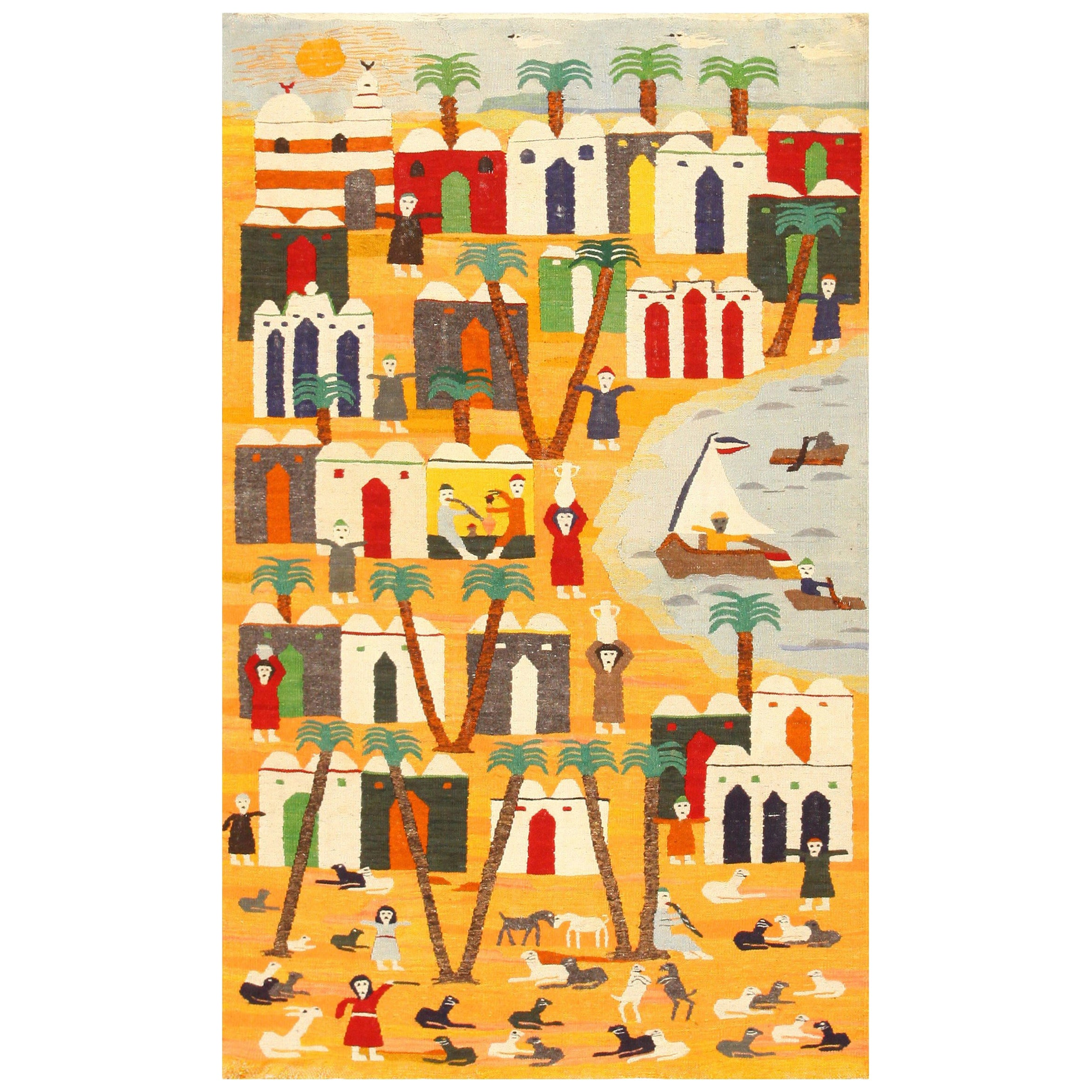 Vintage Swedish Folk Art Tapestry. Size: 4 ft 2 in x 6 ft 7 in (1.27 m x 2.01 m)
