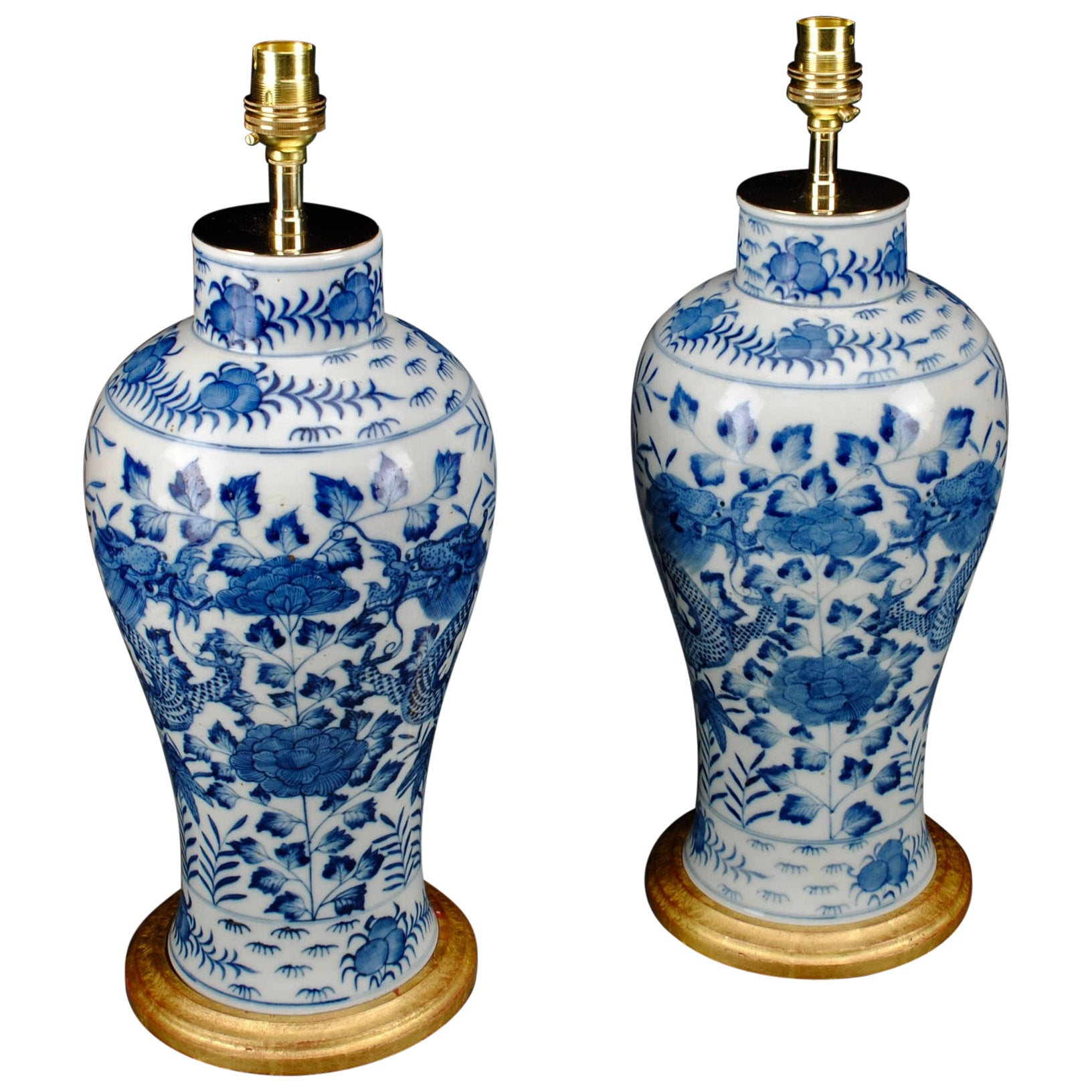 Pair of Blue and White Chinese 20th Century Table Lamps