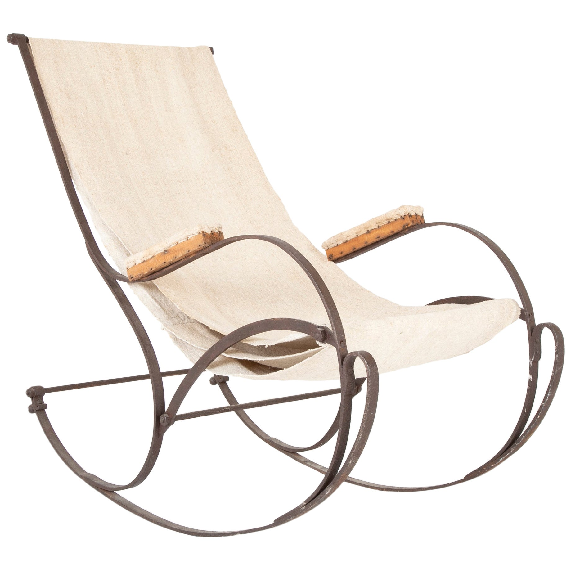 19th Century French Cast Iron and Canvas Rocking Chair