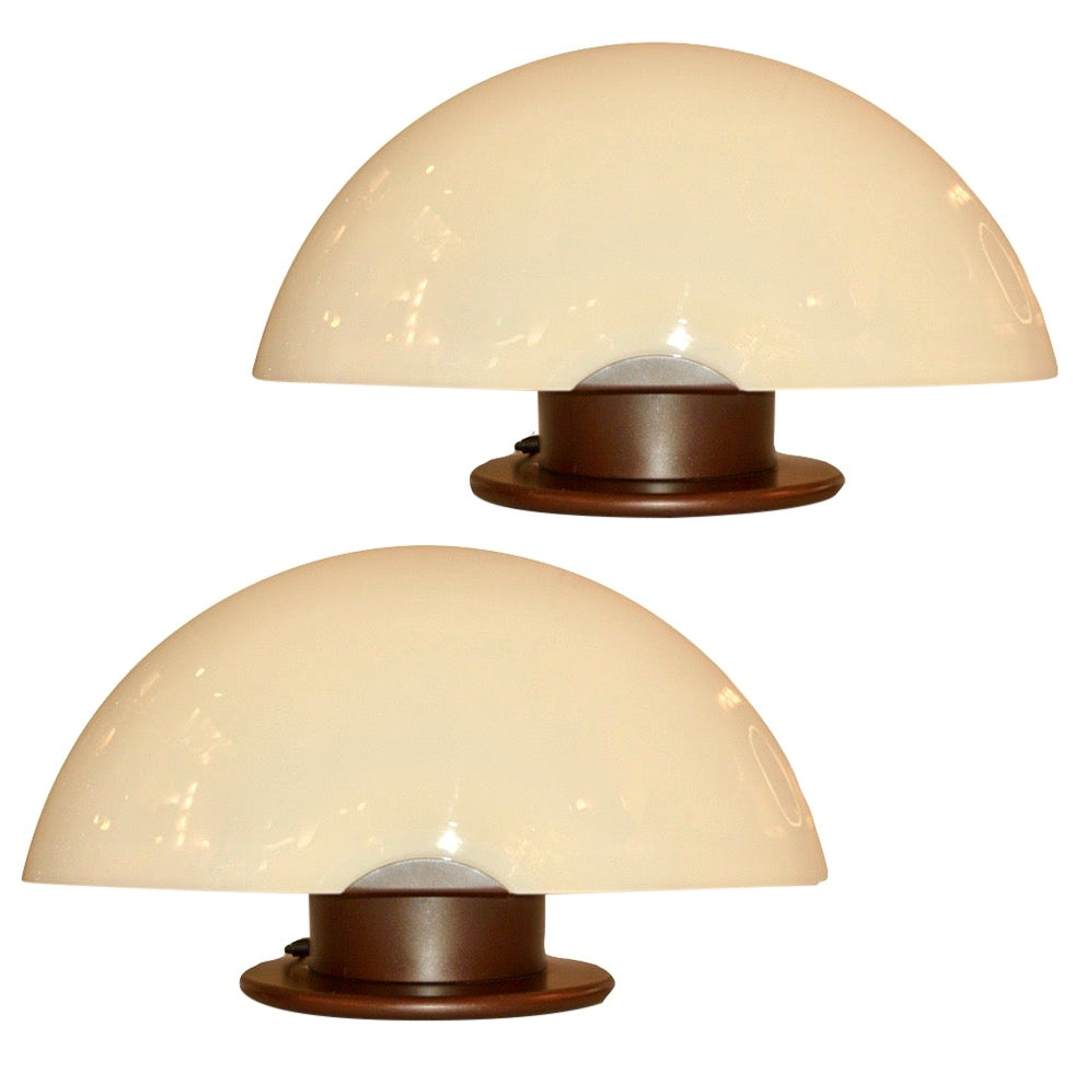 1970s Mazzega Italian Space Age Pair of Ivory Murano Glass Copper Lacquer Lamps