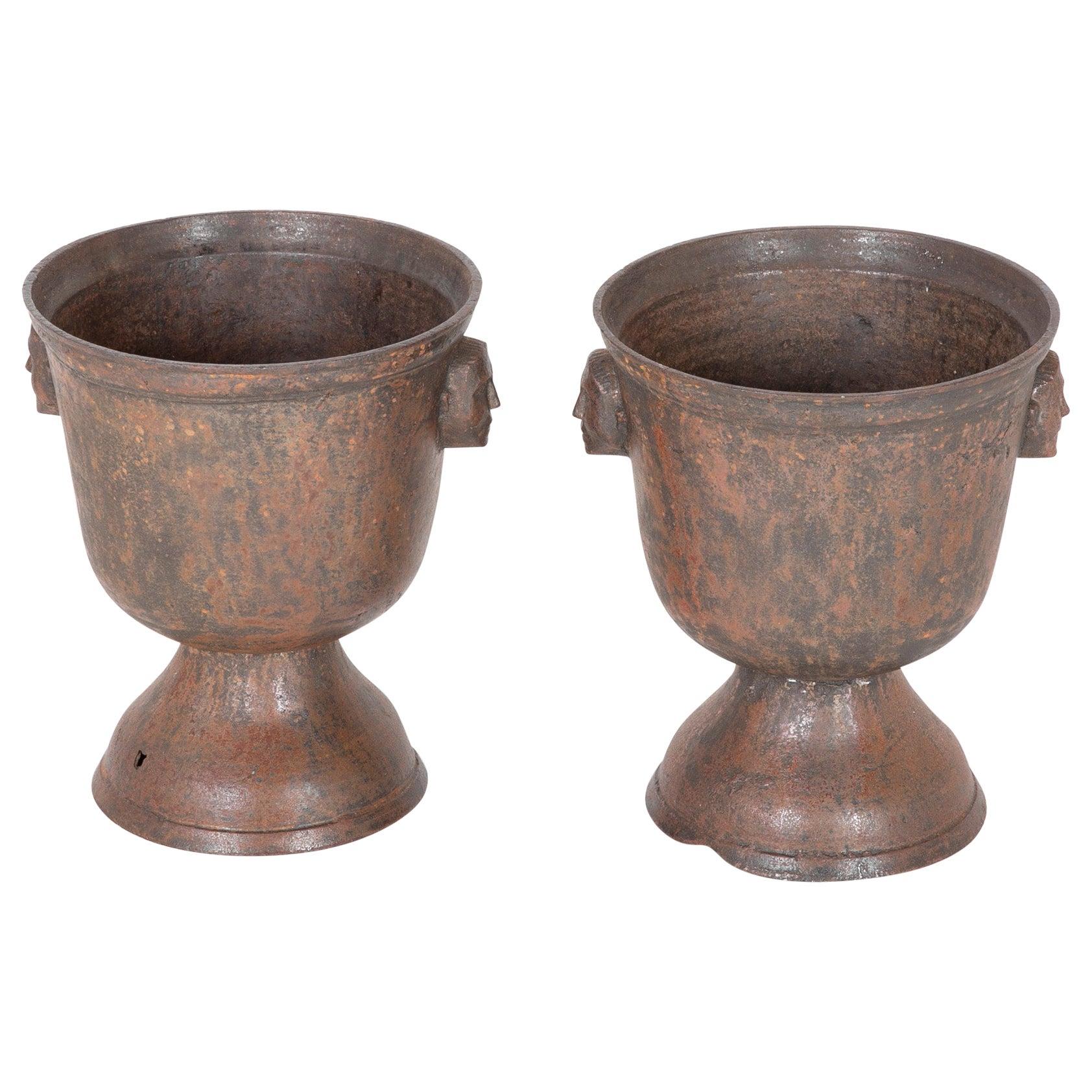 Pair of 18th Century Iron Urns