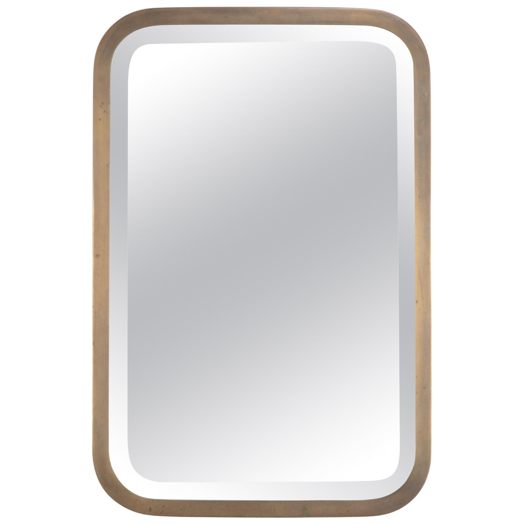 Midcentury Italian Brass Mirror