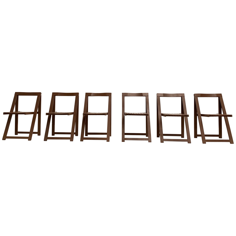 6 Aldo Jacober Folding Chairs Alberto Bazzani 1966 Italy, Low Volume Storage