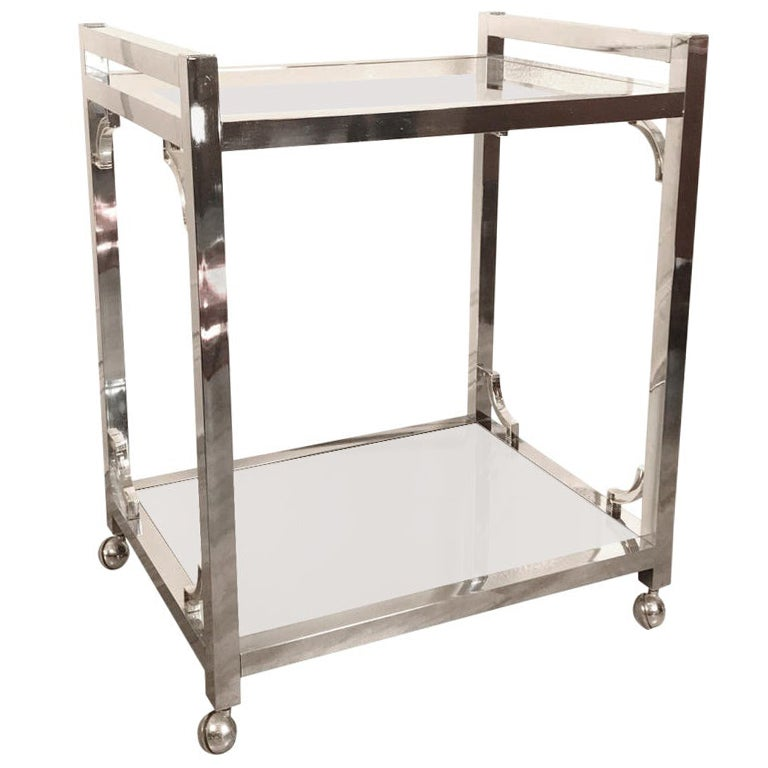 Chrome Bar Cart in the Style of Milo Baughman