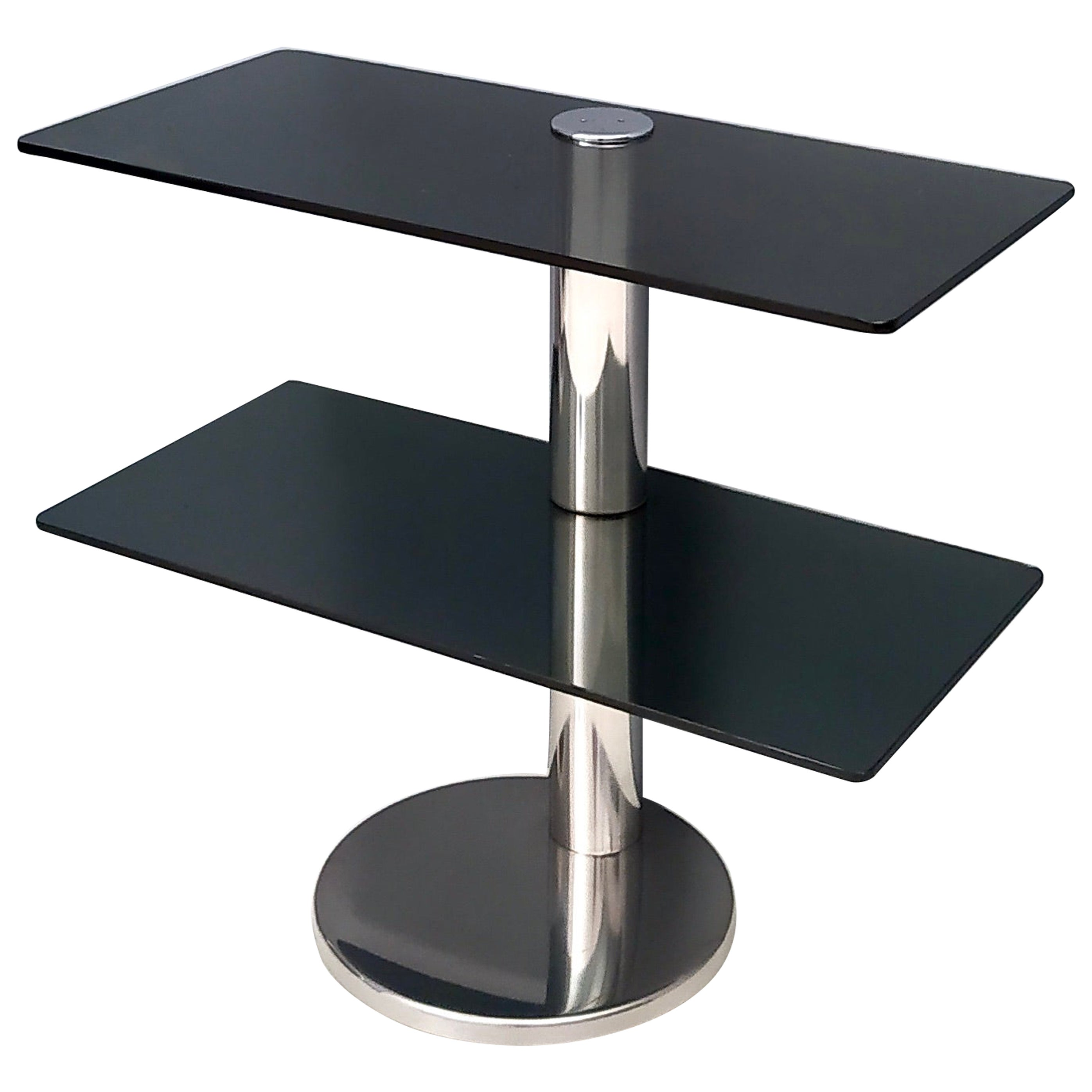 Chromed Metal Console Table with Two Dark Grey Glass Shelves, Italy, 1970s