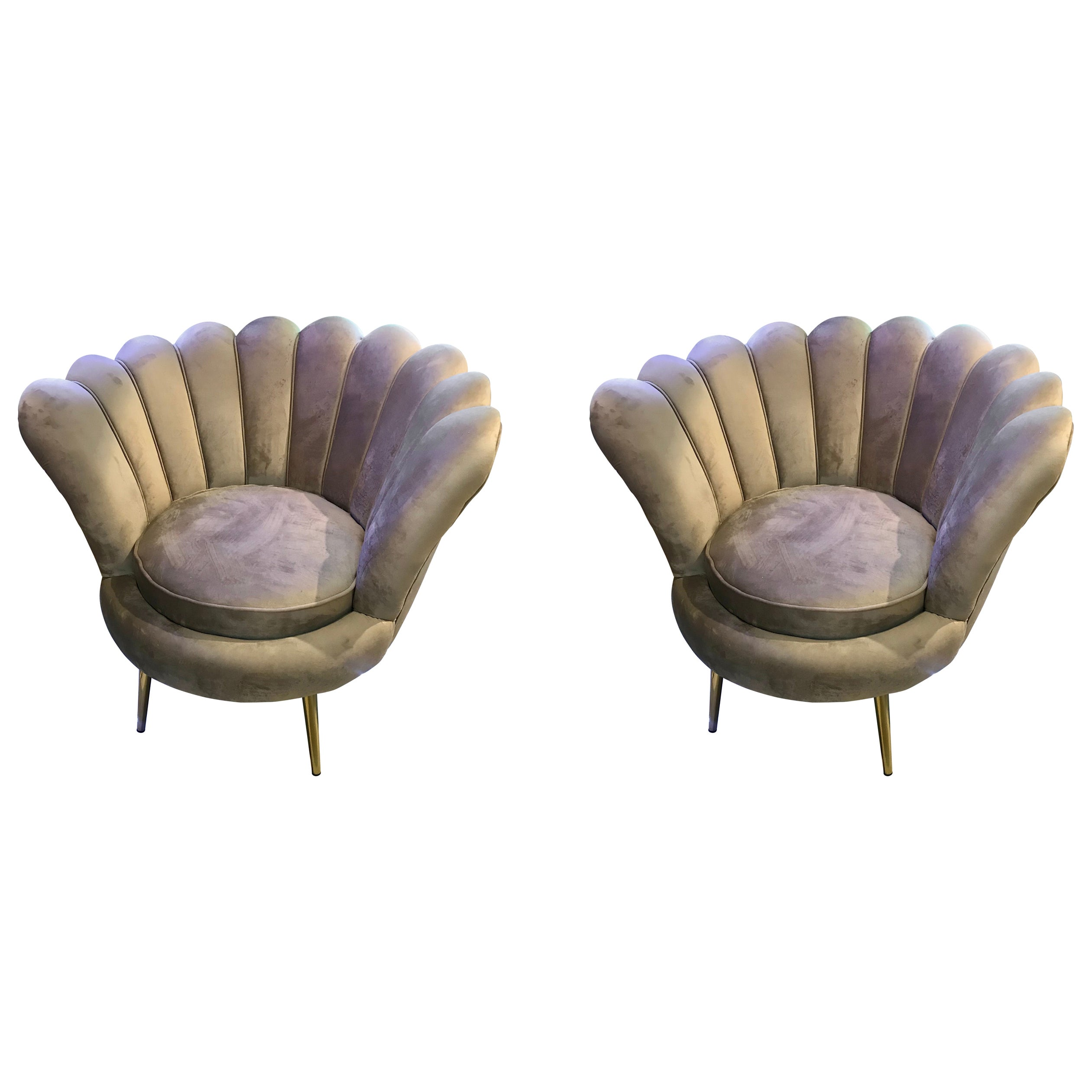 Pair of Midcentury Italian Velvet Lounge Chairs