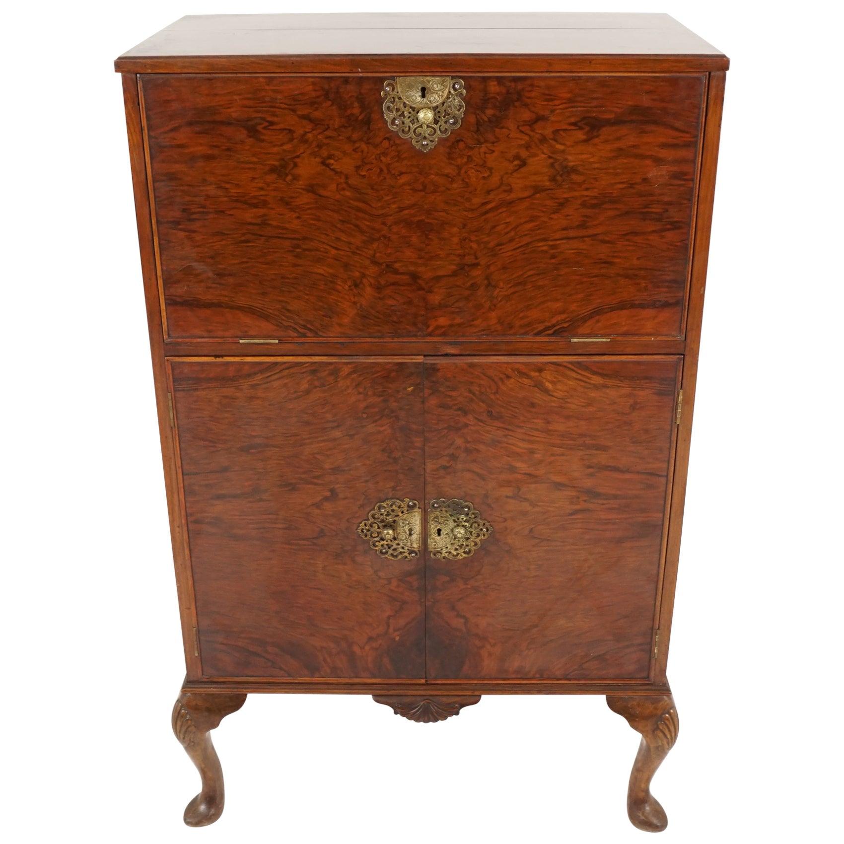 "Vintage Art Deco Burr Walnut Cocktail Cabinet ""Aw-Lyn"" Scotland 1930, B2181"