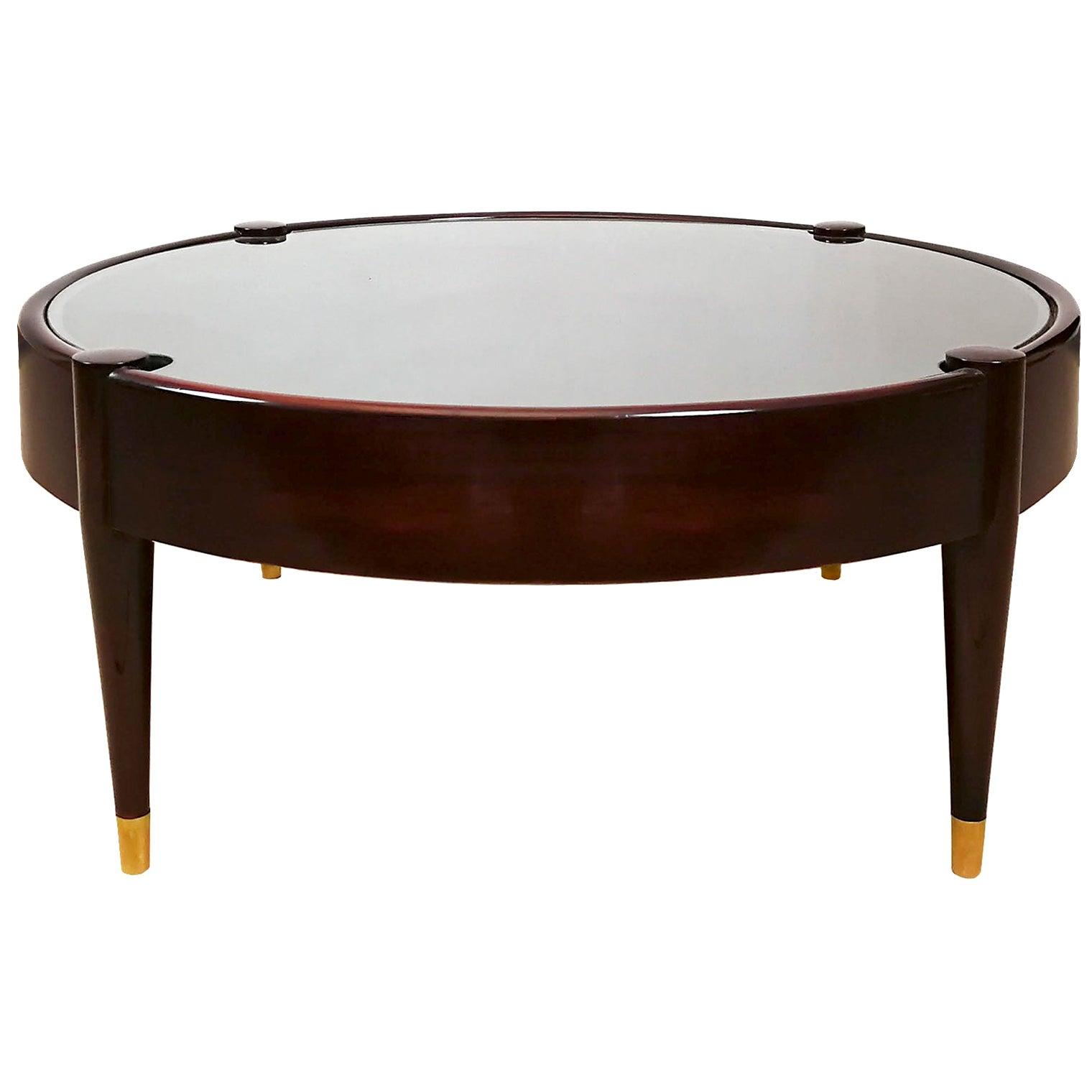 1960s Round Vitrine-Coffee Table by Jordi Vilanova, Walnut, Leather, Barcelona