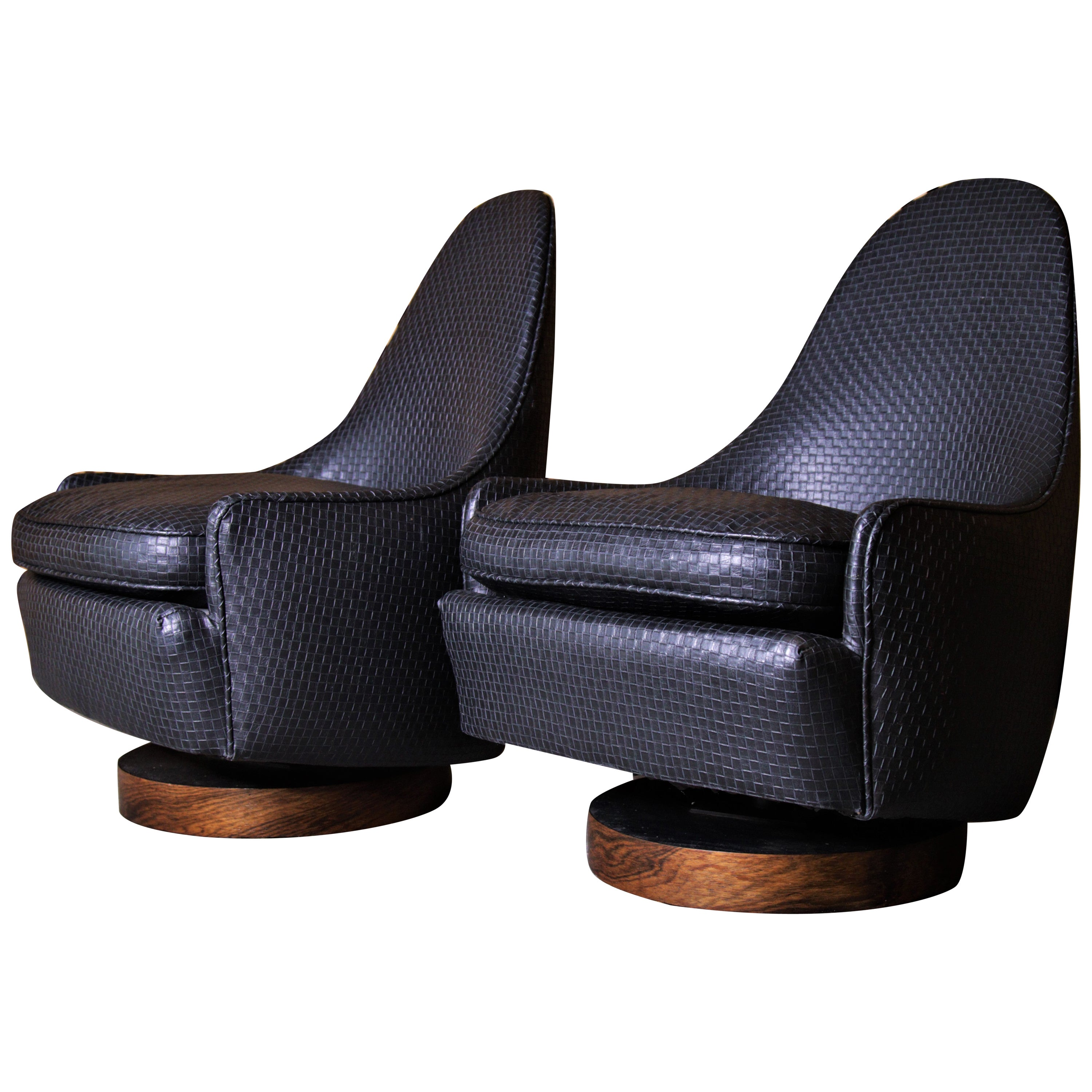 Pair of Milo Baughman Petit Swivel Chairs in Woven Leatherette and Rosewood