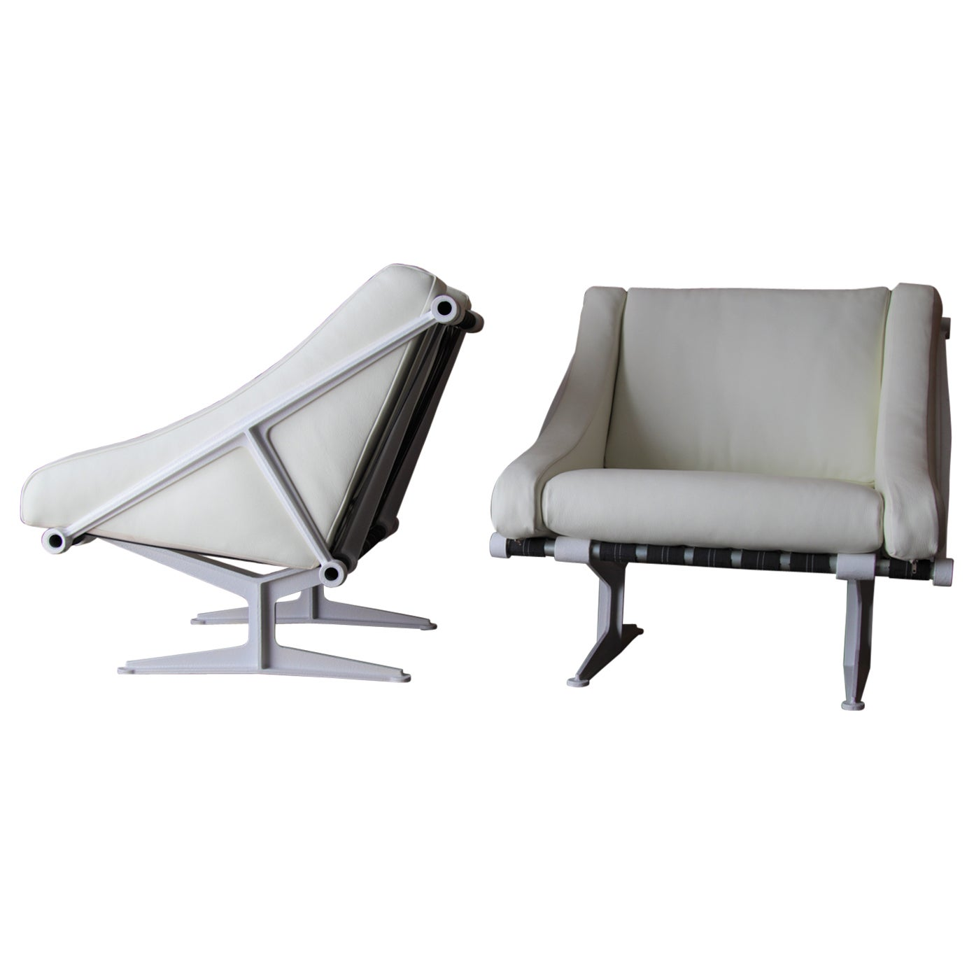 Pair of Modernist Cast Aluminum and Leather Lounge Chairs after Jean Prouvé