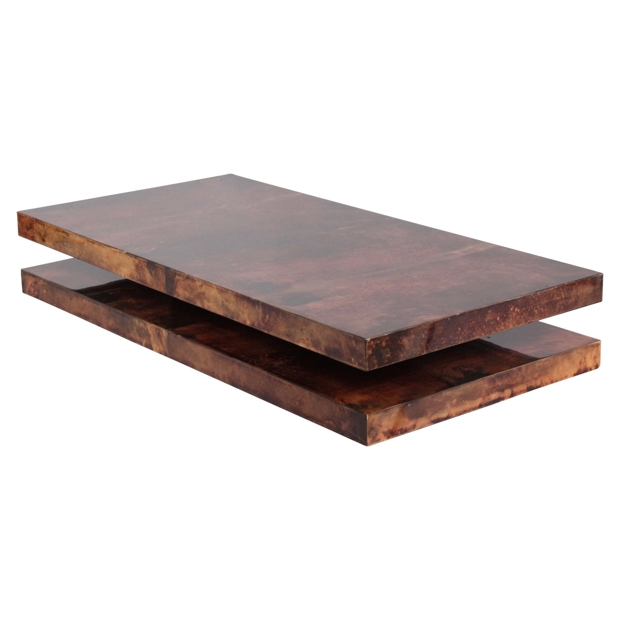 Large Goatskin Parchment Coffee Table by Aldo Tura, 1960s