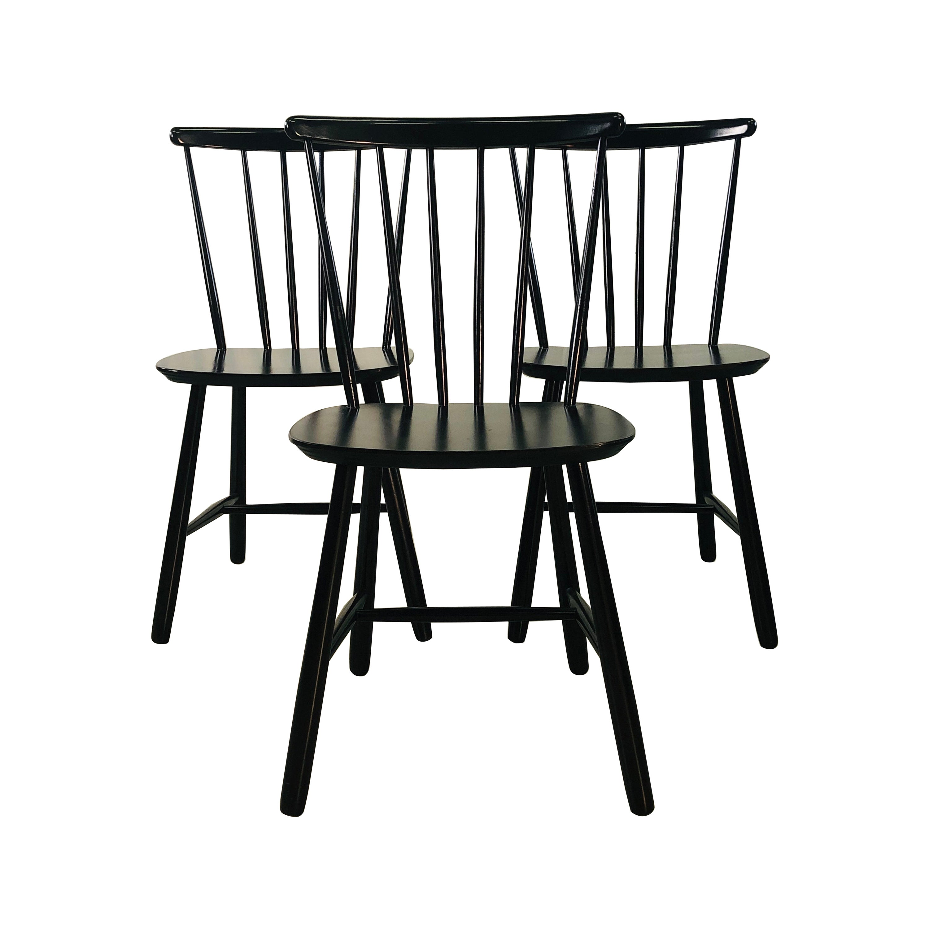 1960s Farstrup Danish Black Dining Chairs, Set of 3