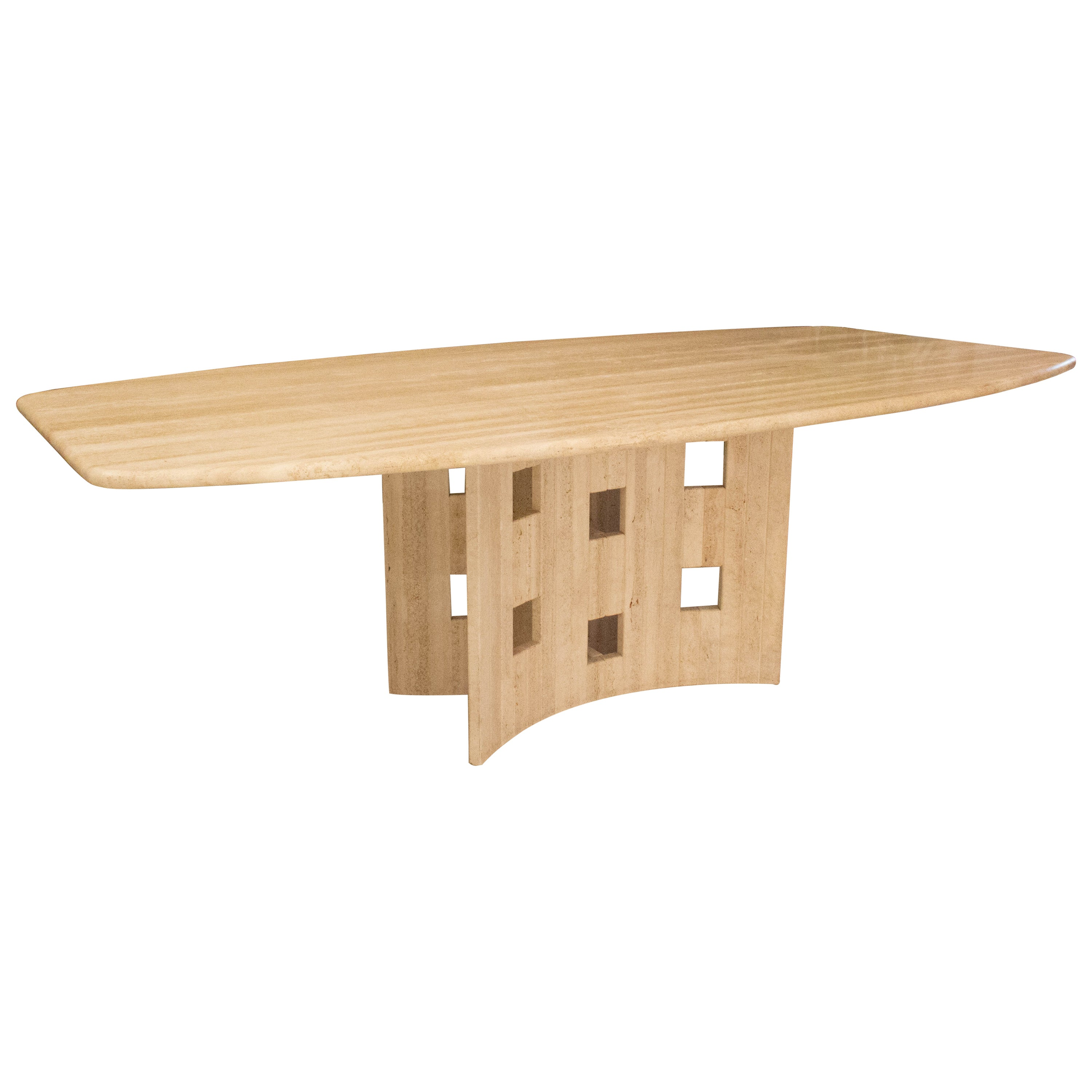 French Travertine Dining Table or Conference Table, circa 1980