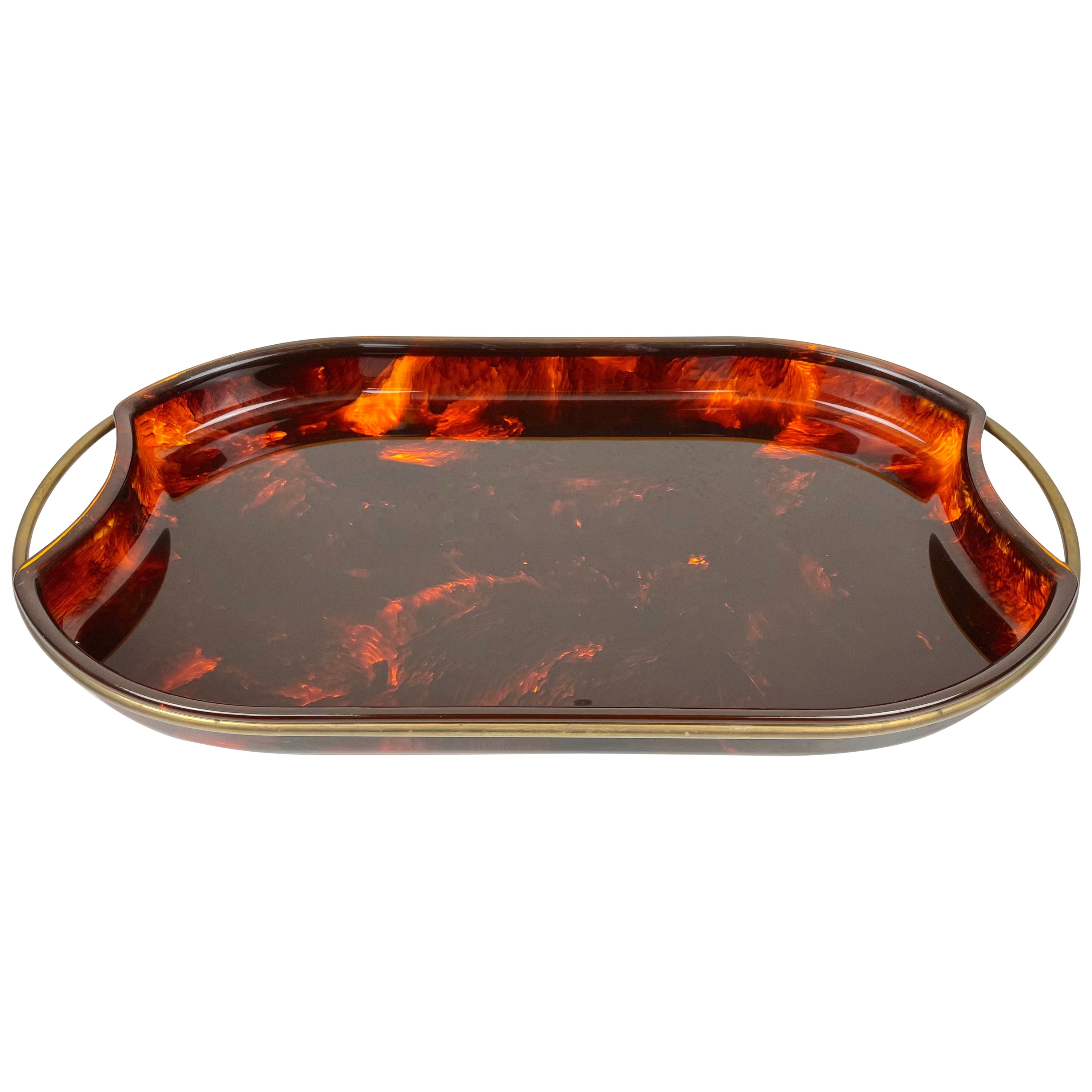 Serving Tray Faux Tortoise Shell Lucite and Brass, Italy, 1970s