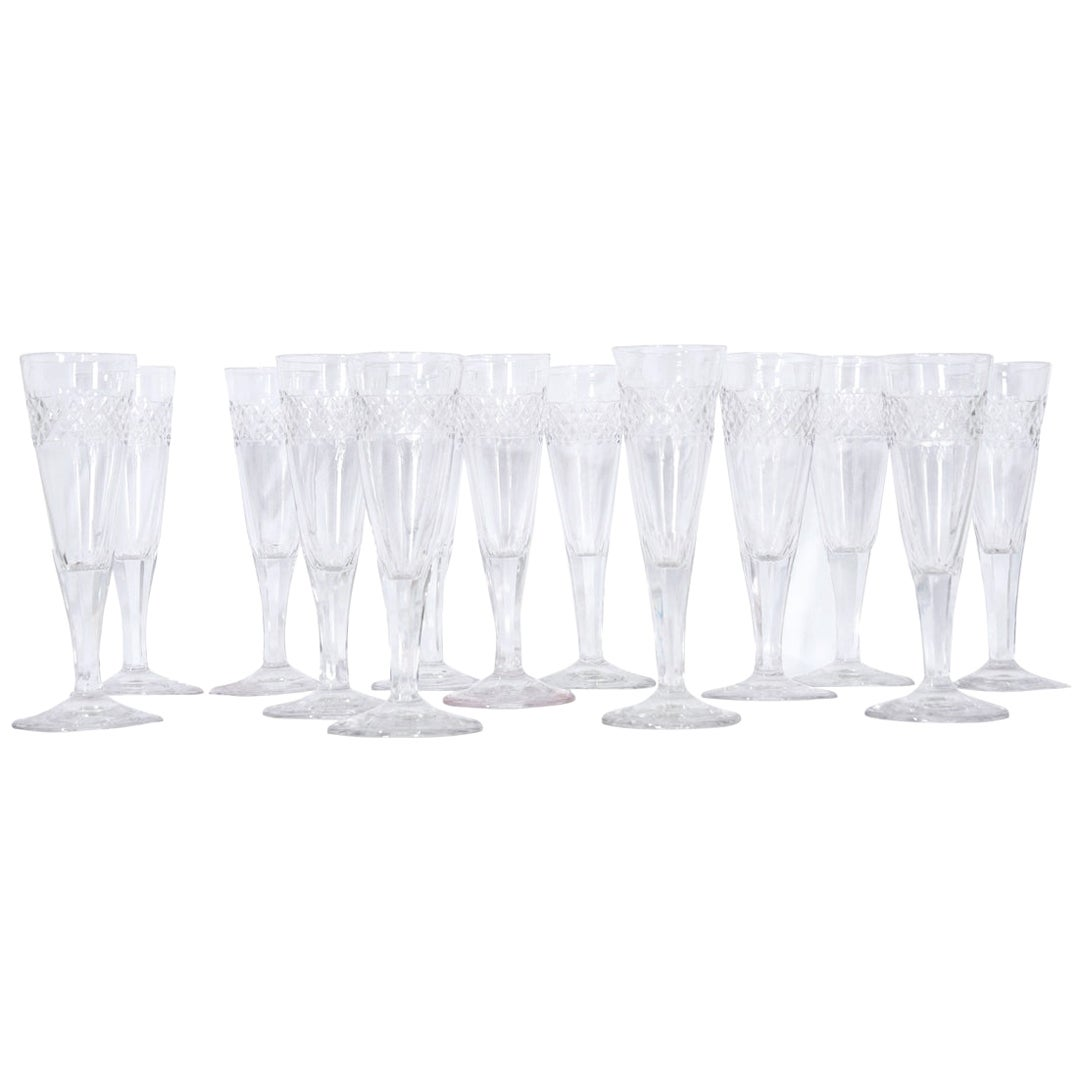 Set of French 19th Century Cut Crystal Champagne Flutes