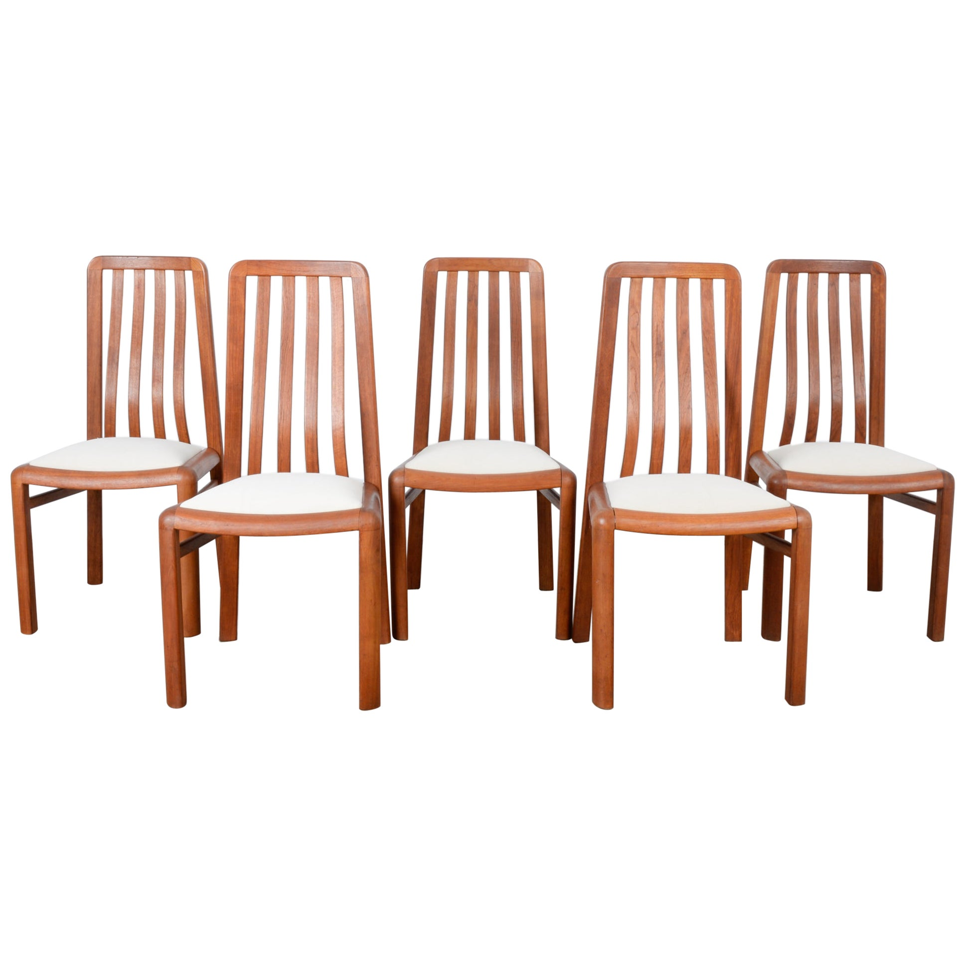 1970s Danish Modern Teak Dining Chairs, Set of Five