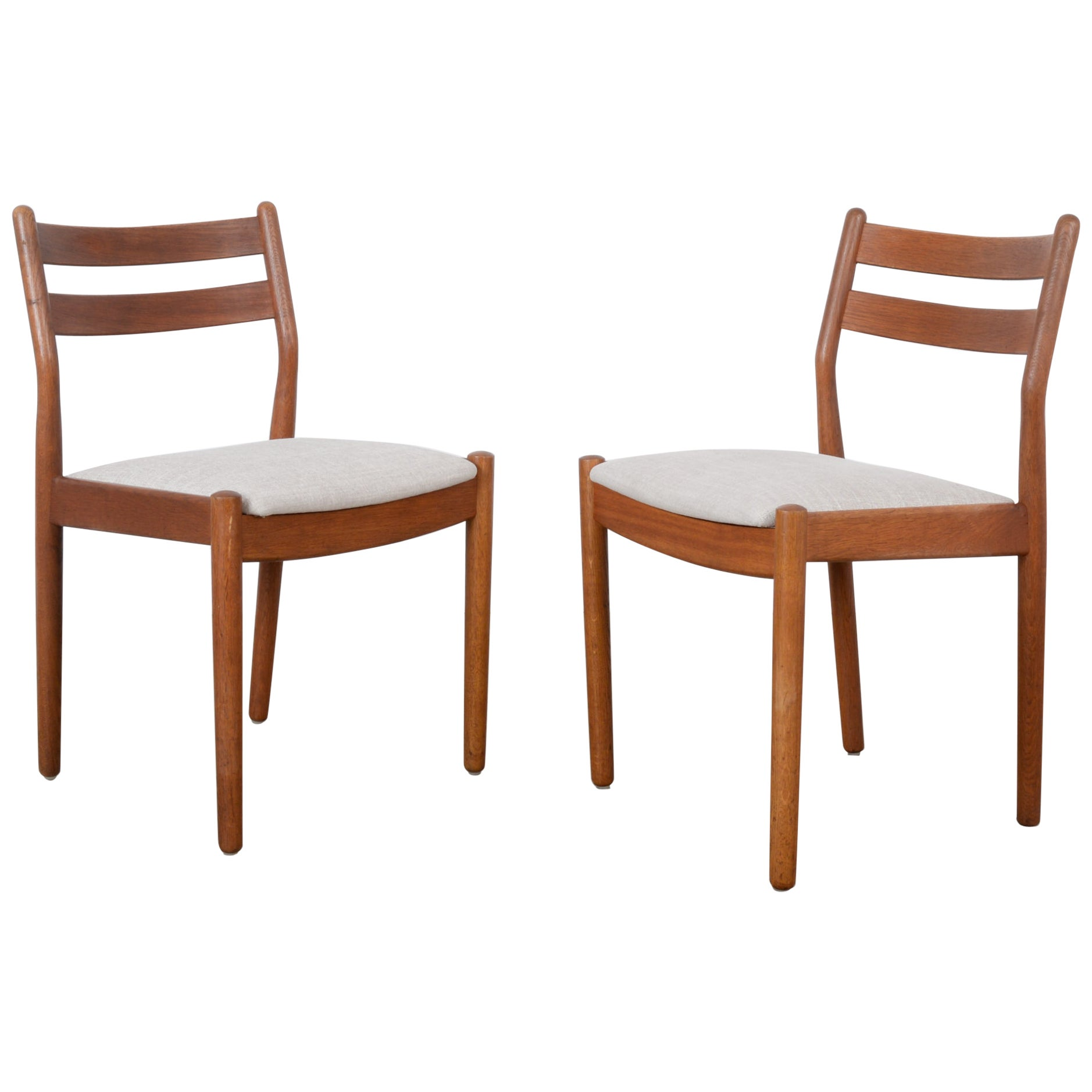 1960s Danish Wooden Chairs with Upholstered Seats, a Pair