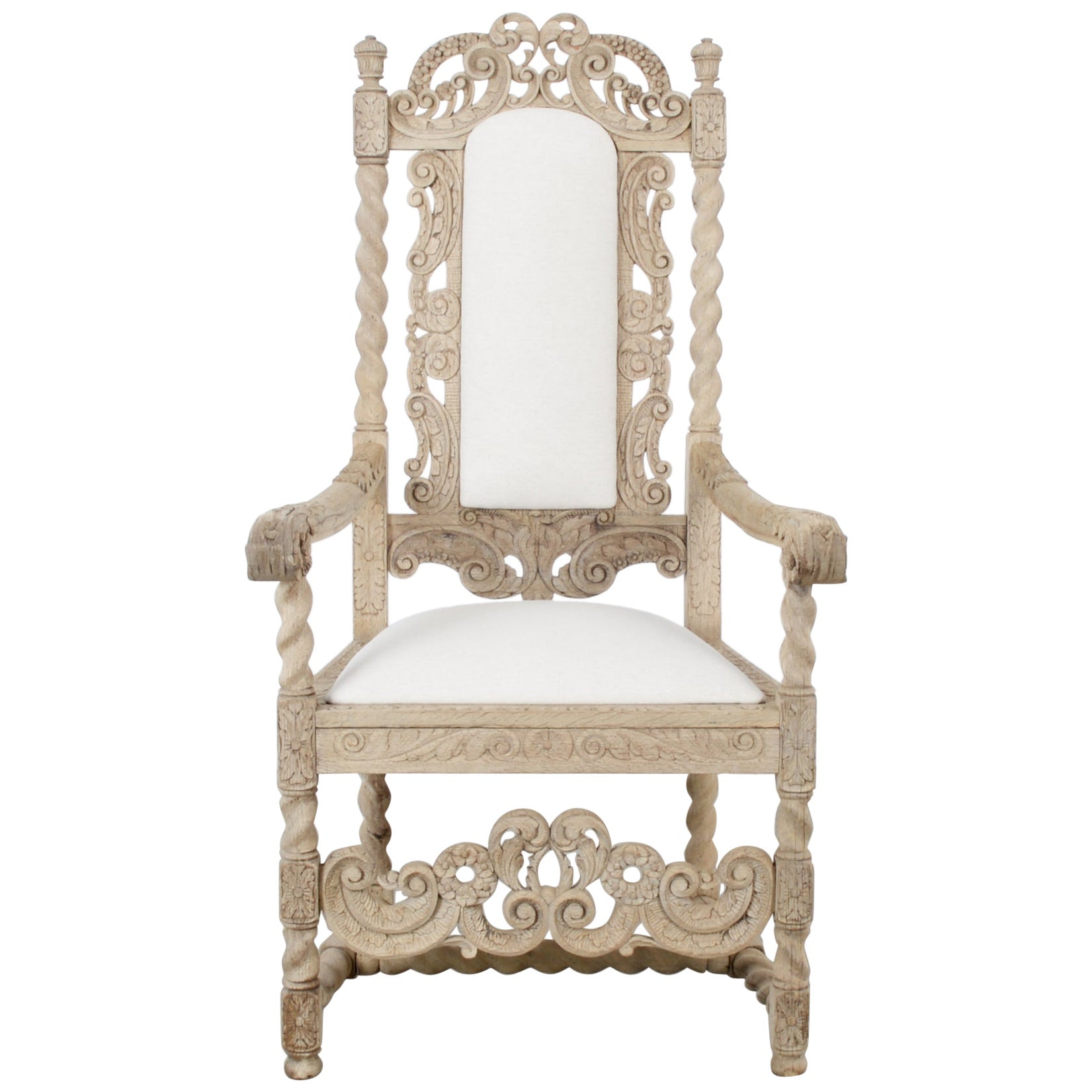 Late 19th Century French Ornate Oak Armchair