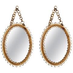 Monique - Pair of Midcentury Rattan and Bamboo Italian Riviera Oval Mirrors