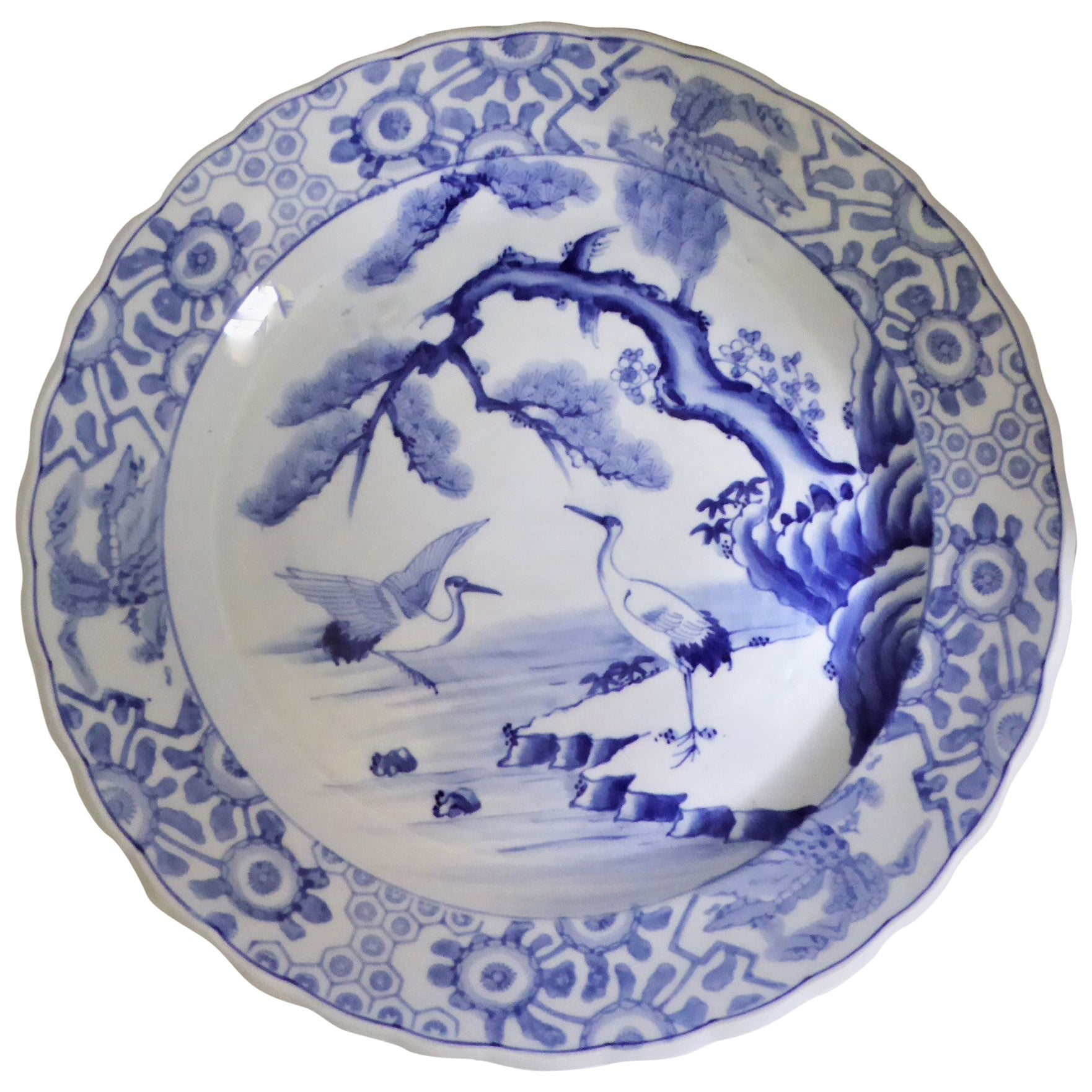 Blue White Japanese Charger with Pair of Cranes and Turtles Meiji Period