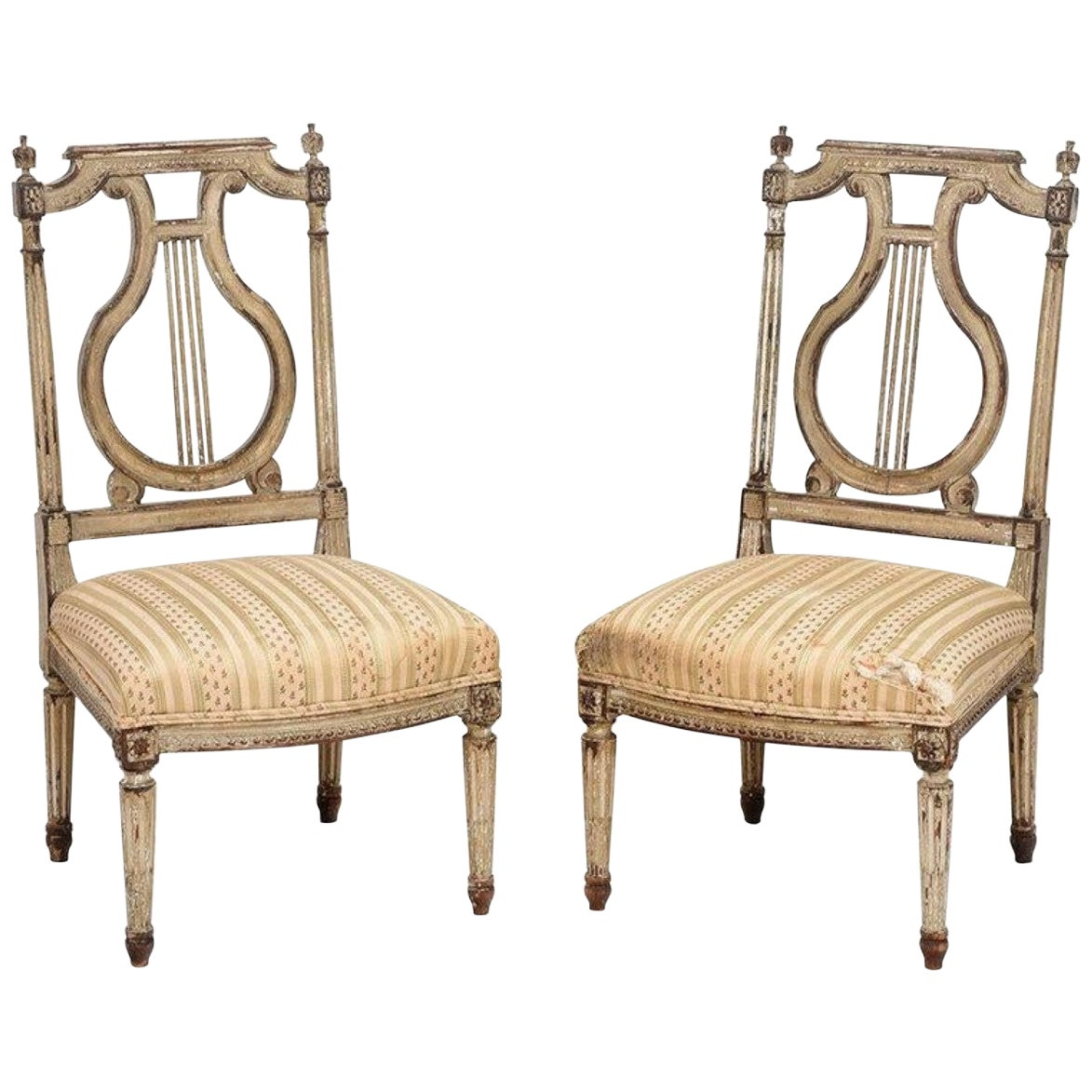 """Pair of 18th Century French """"Chauffeuse"""" Chairs, Georges Jacob Attributed"""