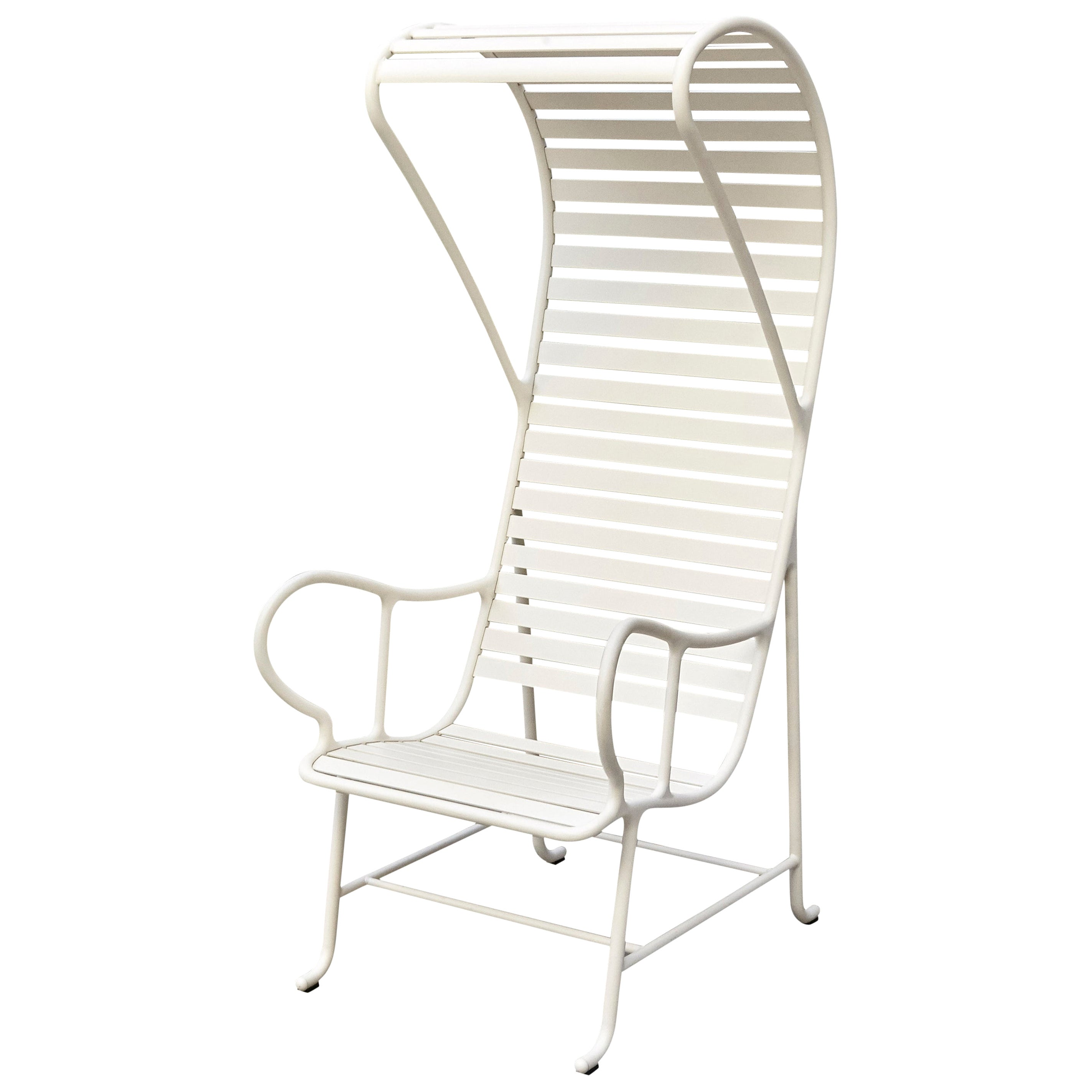 Jaime Hayon Contemporary White Gardenias Outdoor Armchair with Pergola
