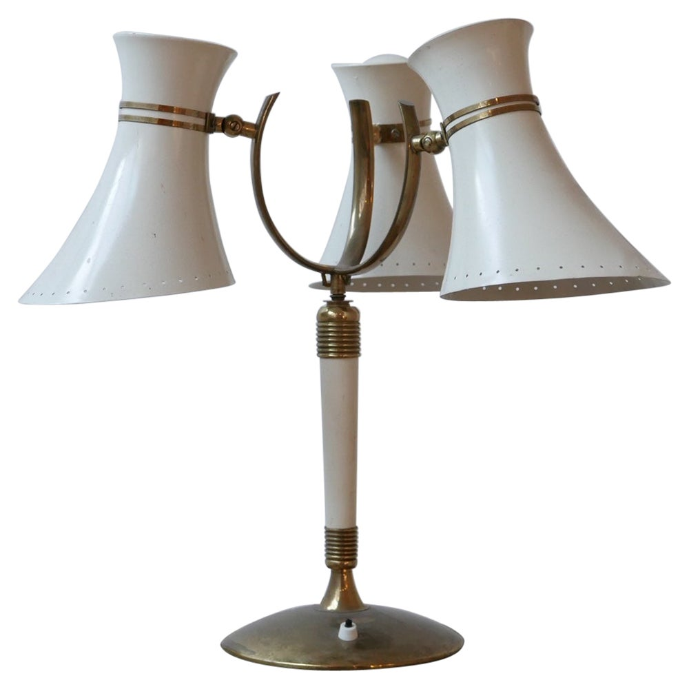 Italian Midcentury Three Shade Adjustable Table Lamp