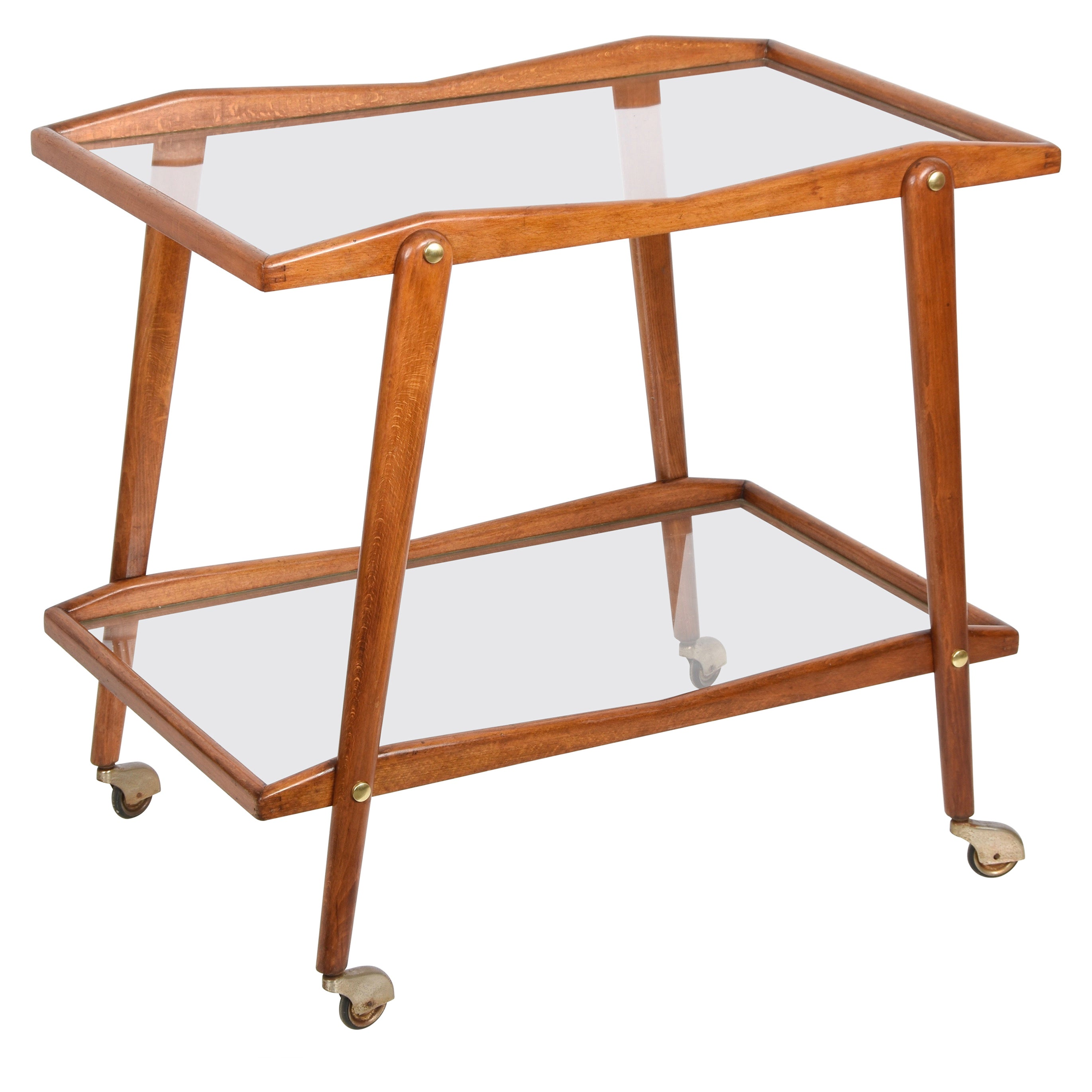 Cesare Lacca Midcentury Beech and Brass Italian Serving Bar Cart Italy, 1950s