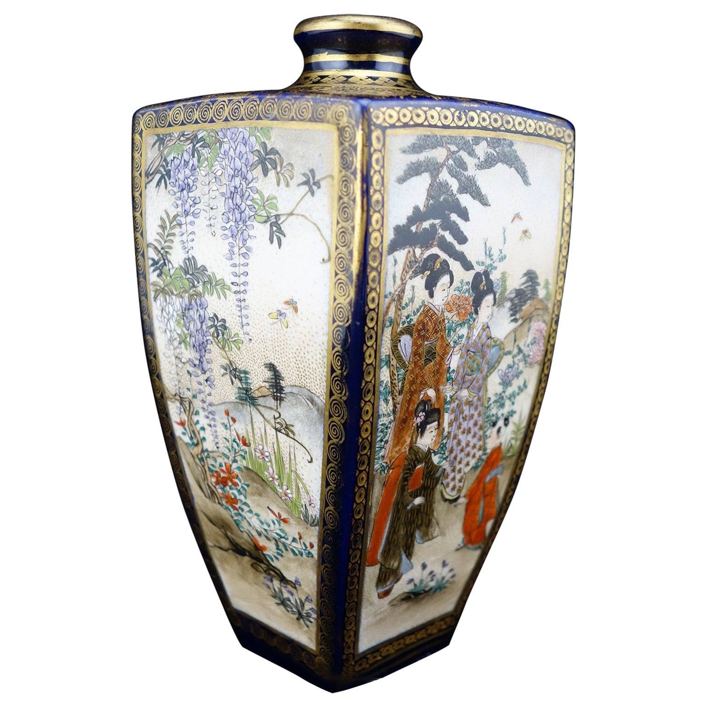 Japanese Meiji Satsuma Polygonal Vase