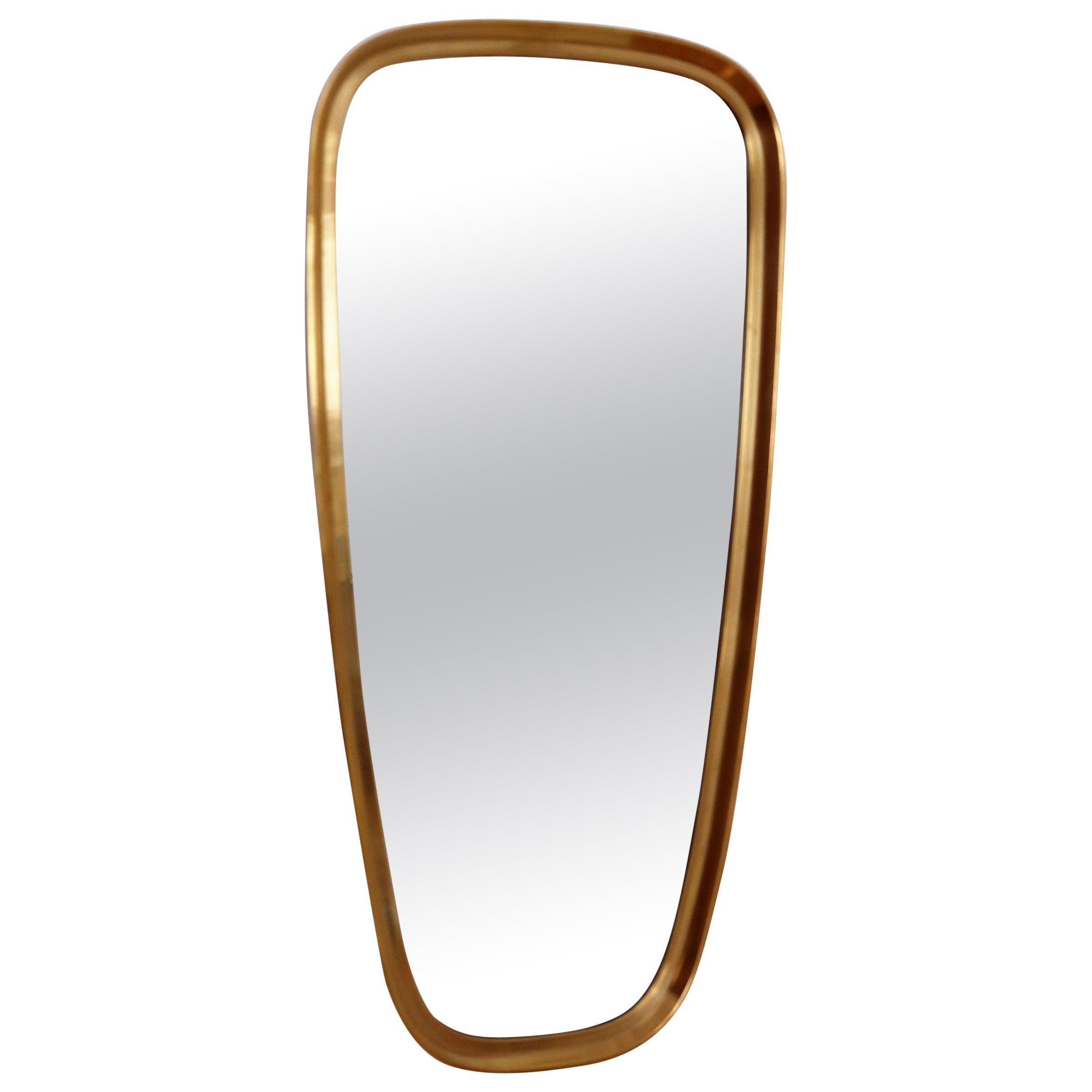 Midcentury Wall Mirror in Brass by Vereinigte Werkstätten, Germany, 1970s