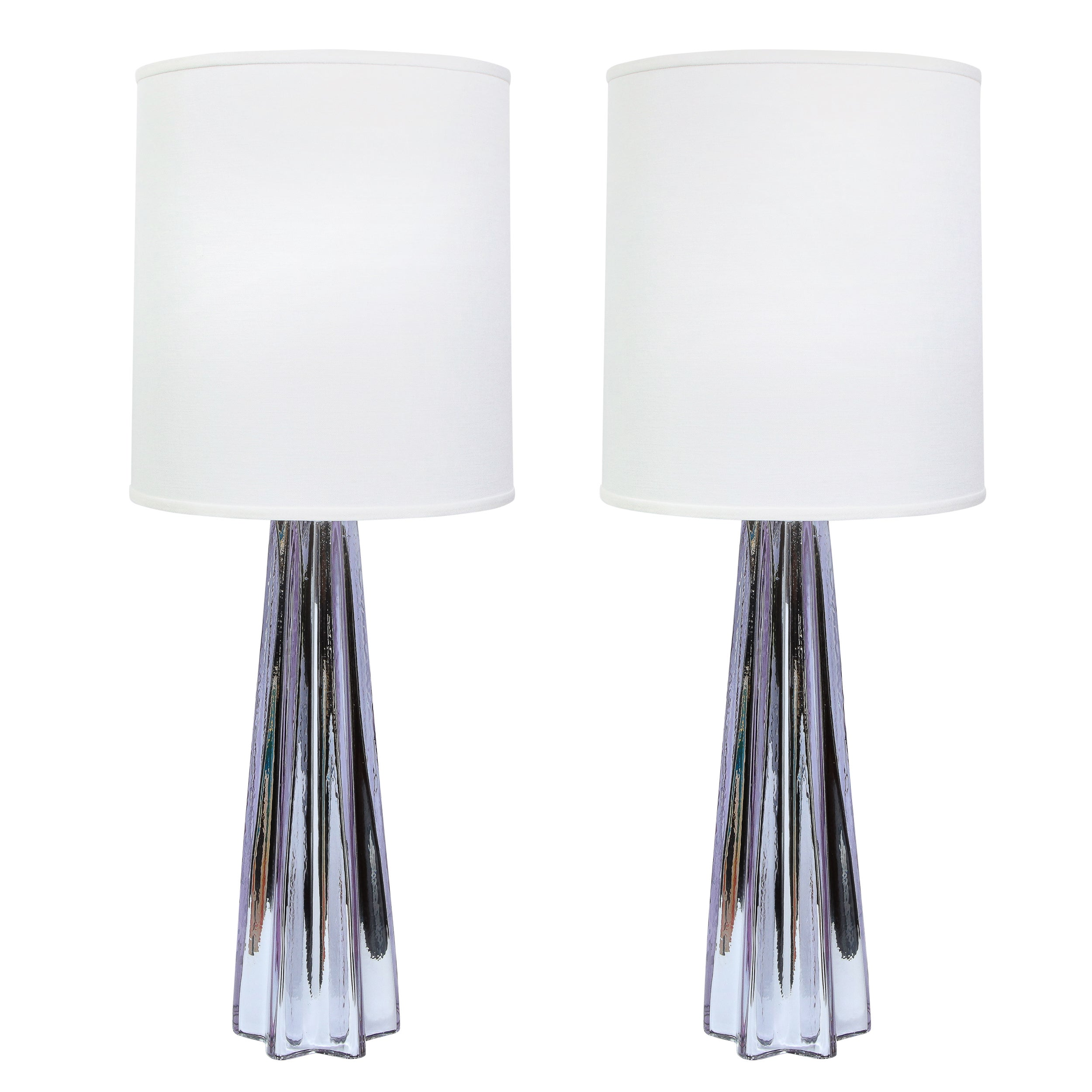 Modernist X-Form Lavender Hand Blown Murano Mercury Glass Table Lamps