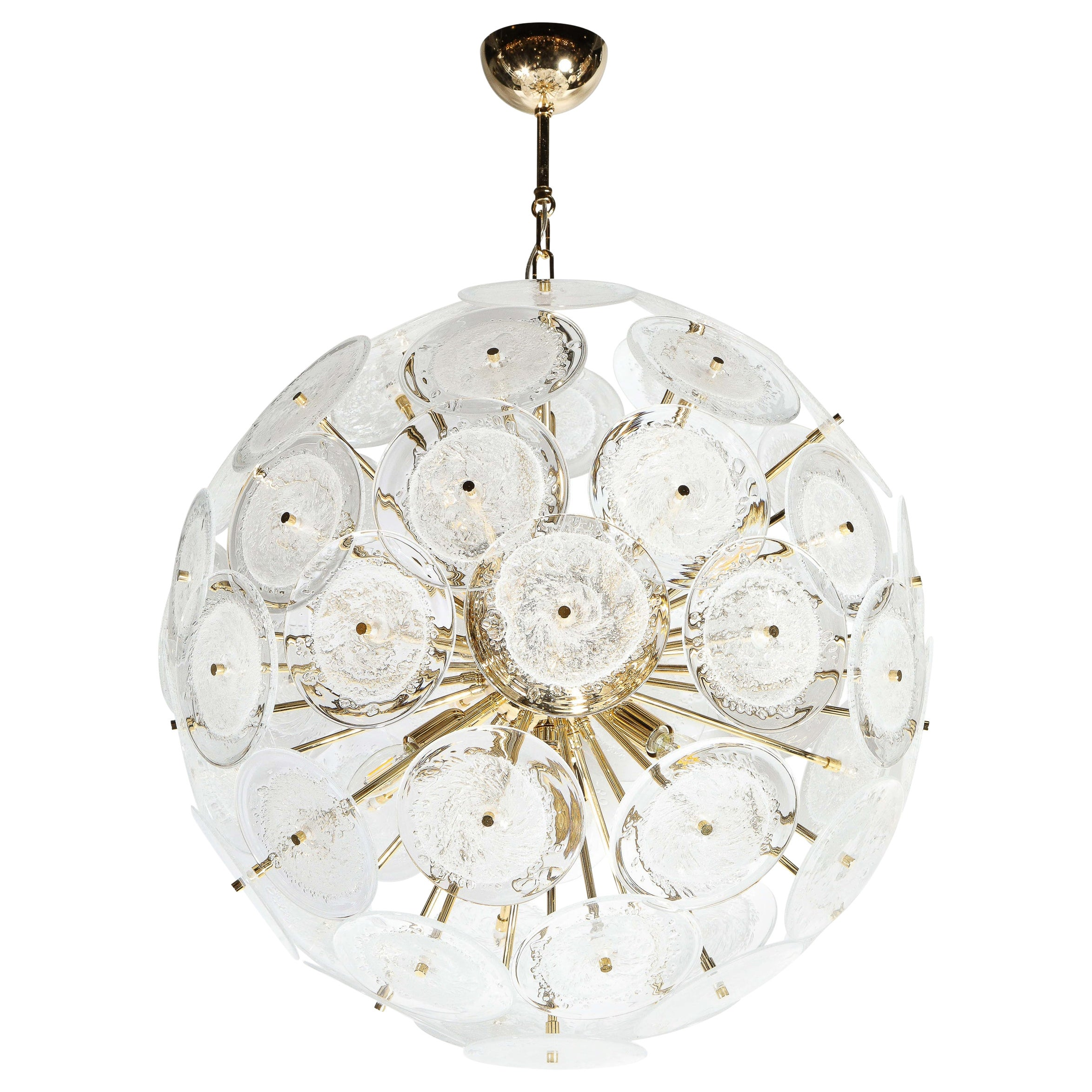 Polished Brass Sputnik Chandelier with Hand Blown Translucent Murano Glass Discs