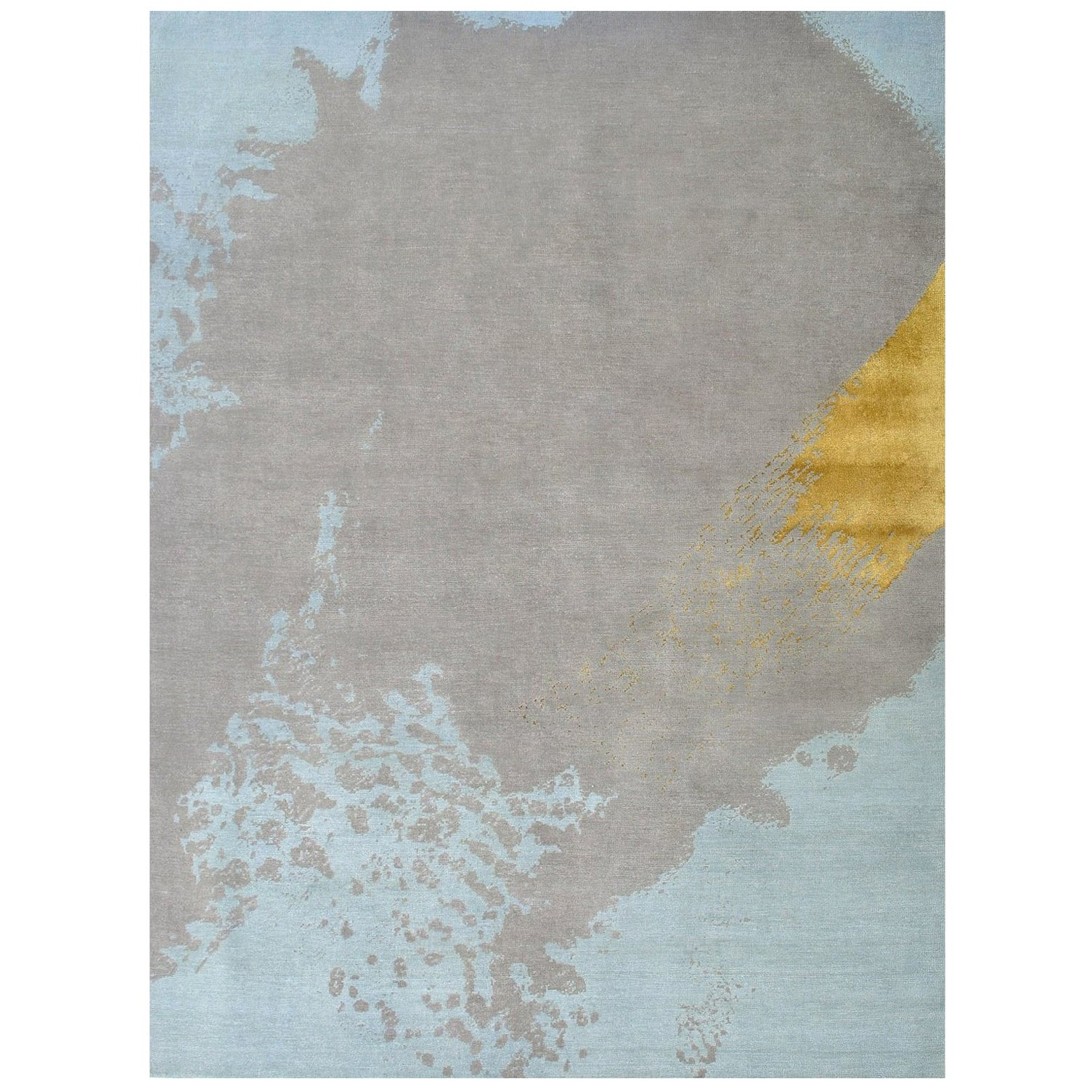 Light Blue Gray Gold Modern Abstract Hand Knotted Rug