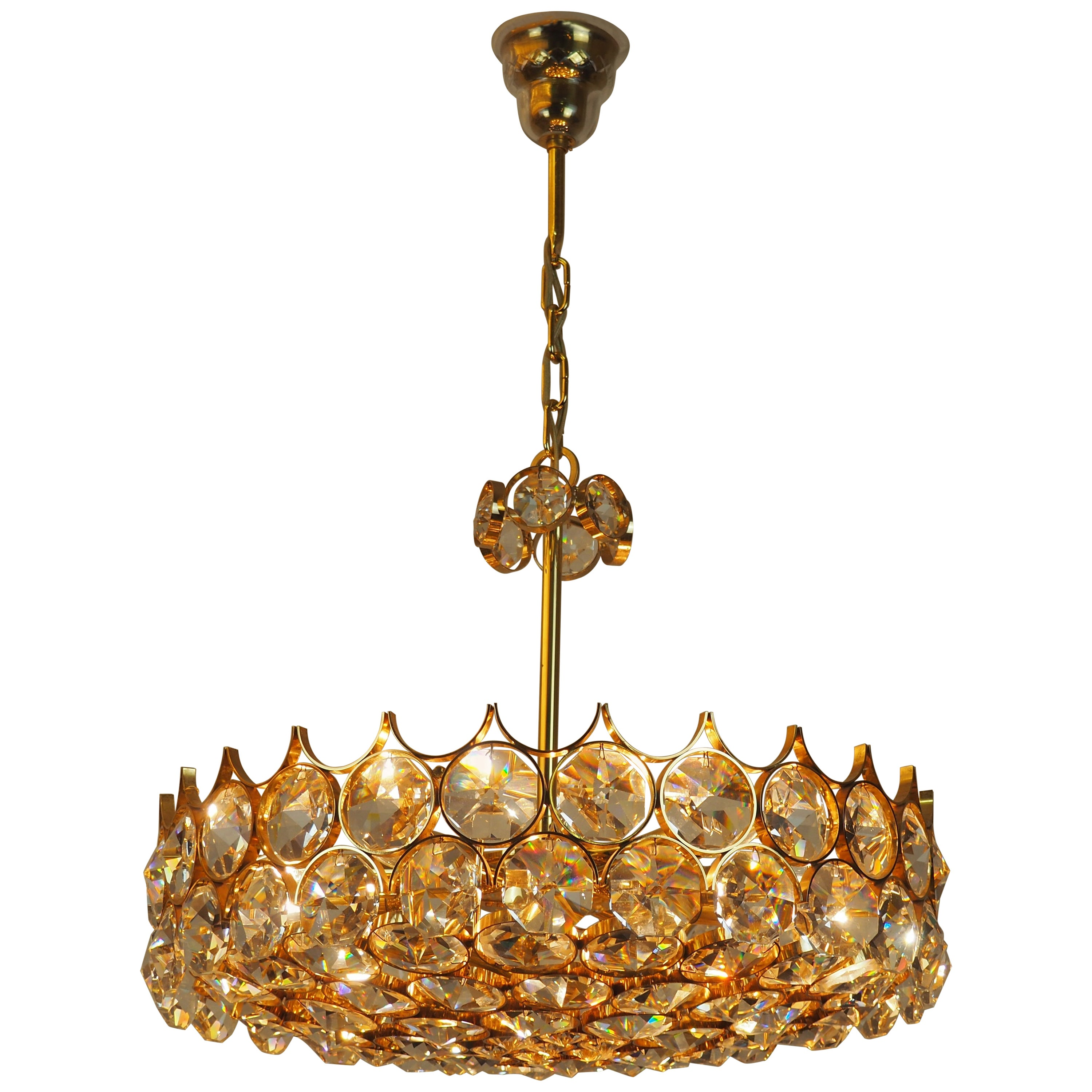 Lovely Large Gilt Brass and Crystal Chandelier by Palwa, circa 1970s