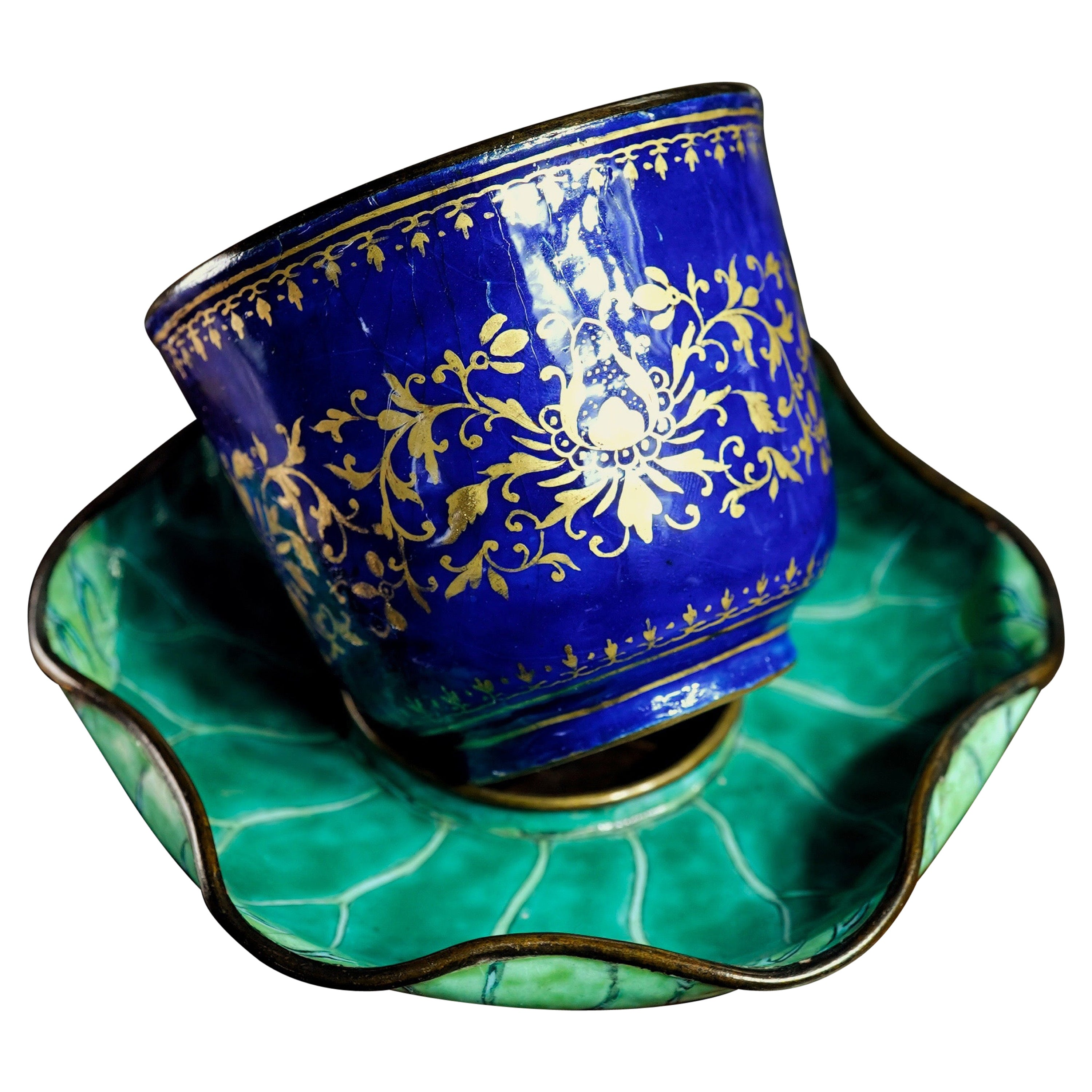 Chinese Enamel Cup in Lotus Leaf Stand, 18th Century