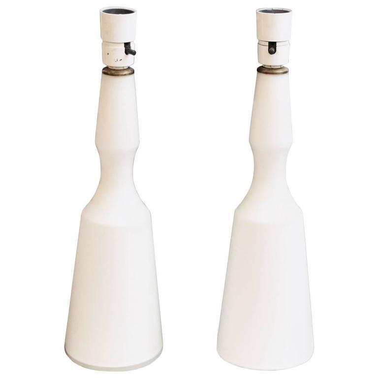 1960s Pair of Mid-Century Modern Danish White Glass Lamps
