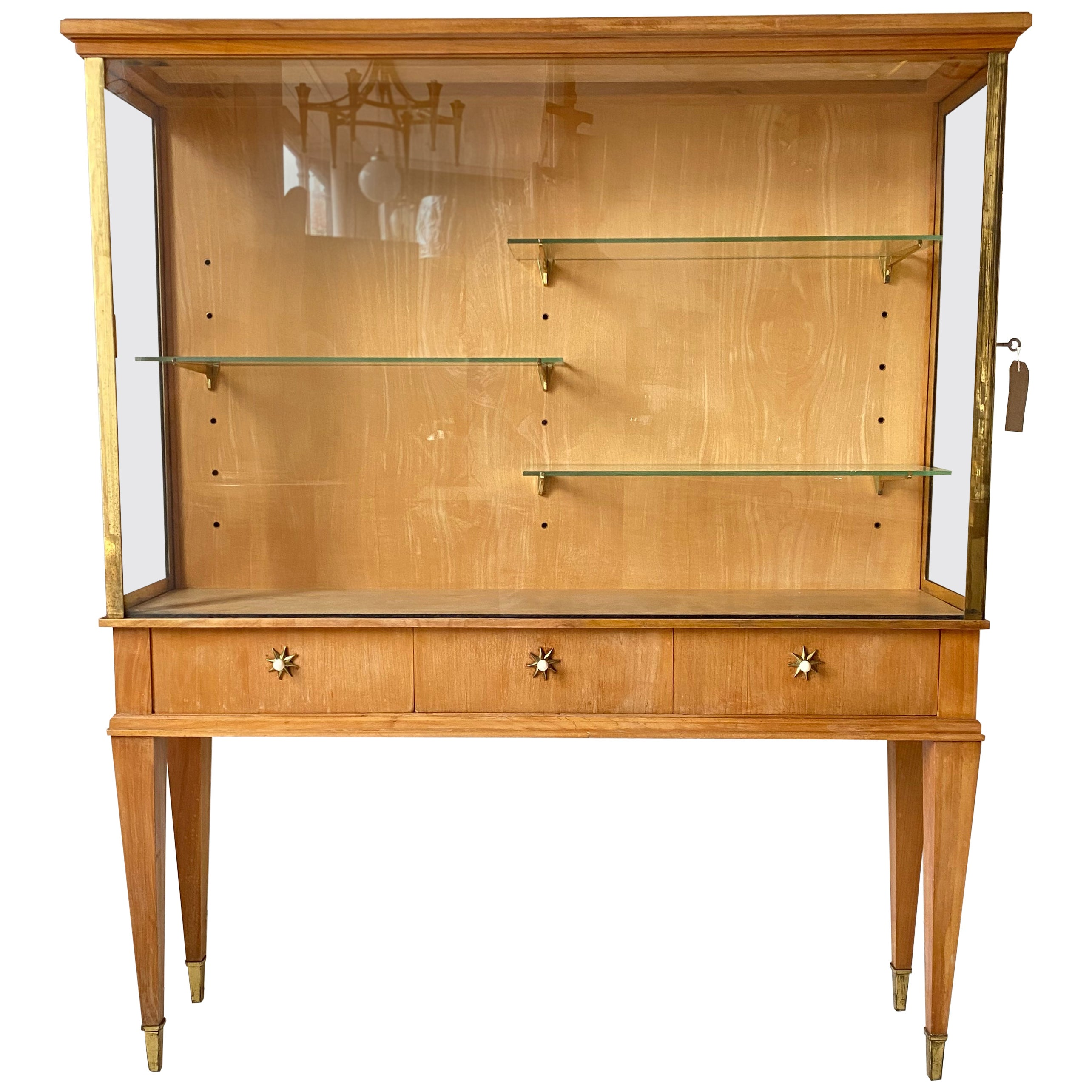 French 1940s Brass Trimmed Vitrine/ Display Cabinet