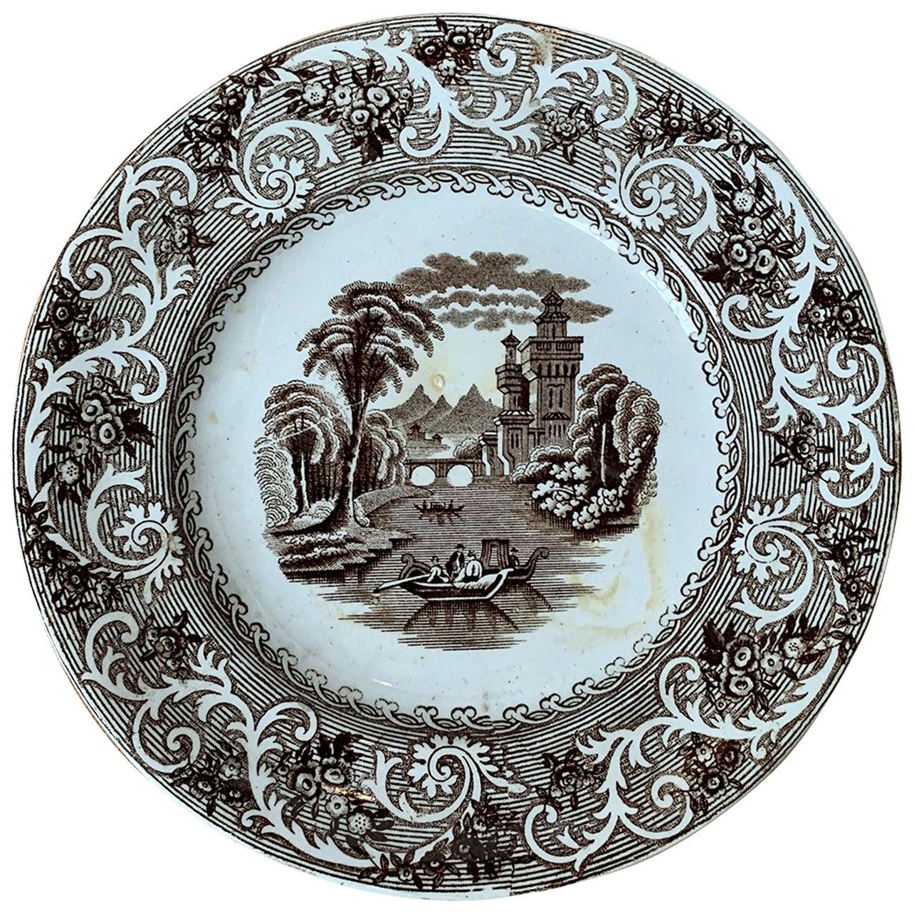 English Transferware Plate in Rhine Pattern Ironstone China Marked J.M. & S